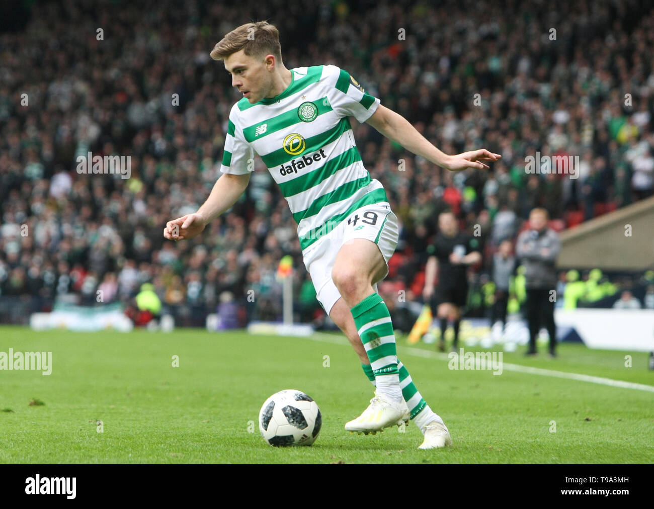 Glasgow, Scotland - April 14. James Forrest of Celtic during the William Hill Scottish Cup semi final between Celtic and Aberdeen at Hampden Park on April 14, 2019 in Glasgow, Scotland. (Photo by Scottish Borders Media/Alamy Live News) - Stock Image