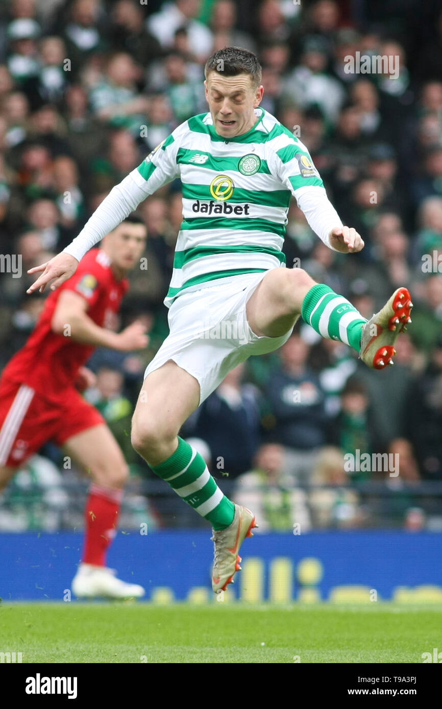 Glasgow, Scotland - April 14. Callum McGregor of Celtic during the William Hill Scottish Cup semi final between Celtic and Aberdeen at Hampden Park on April 14, 2019 in Glasgow, Scotland. (Photo by Scottish Borders Media/Alamy Live News) - Stock Image