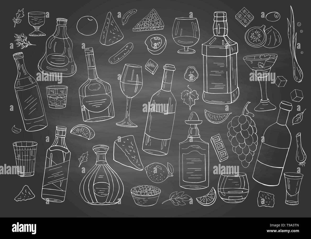 Set of hand drwan different alcohol drinks and bottles on chalkboard. Stock Vector