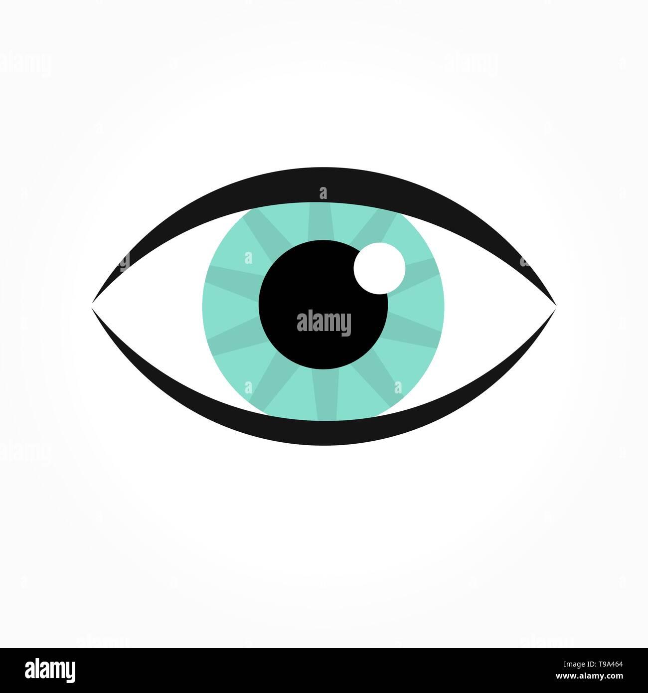 Blue eye icon. Vector illustration - Stock Image