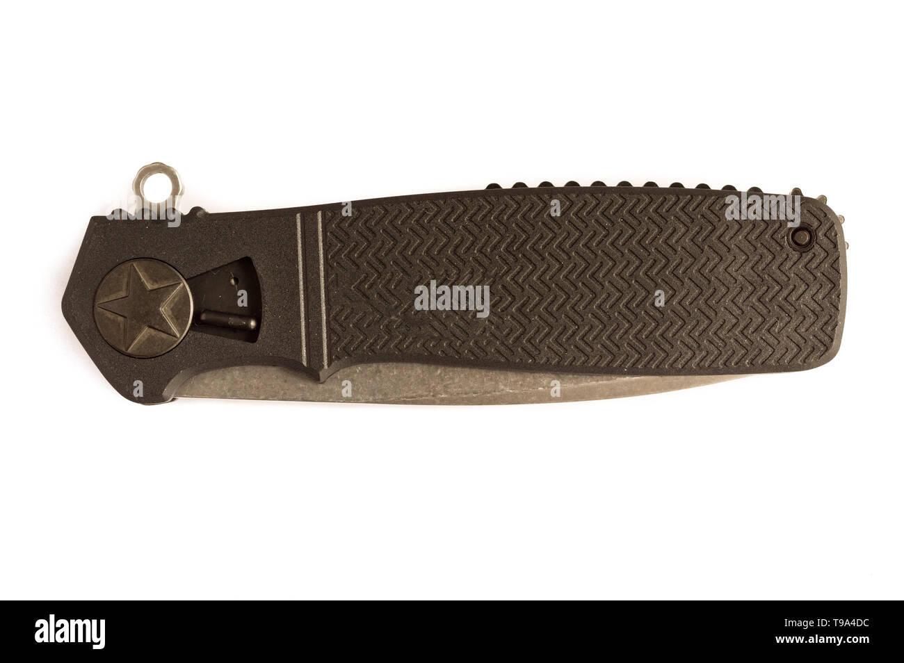 Folding knife with a black handle. Knife with a star. - Stock Image
