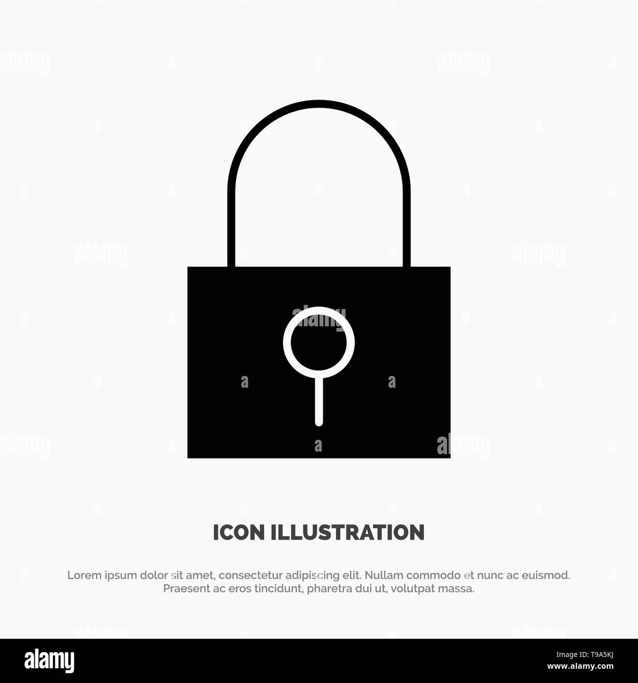 Lock, Password, Password Lock, Secure Password solid Glyph Icon vector - Stock Image