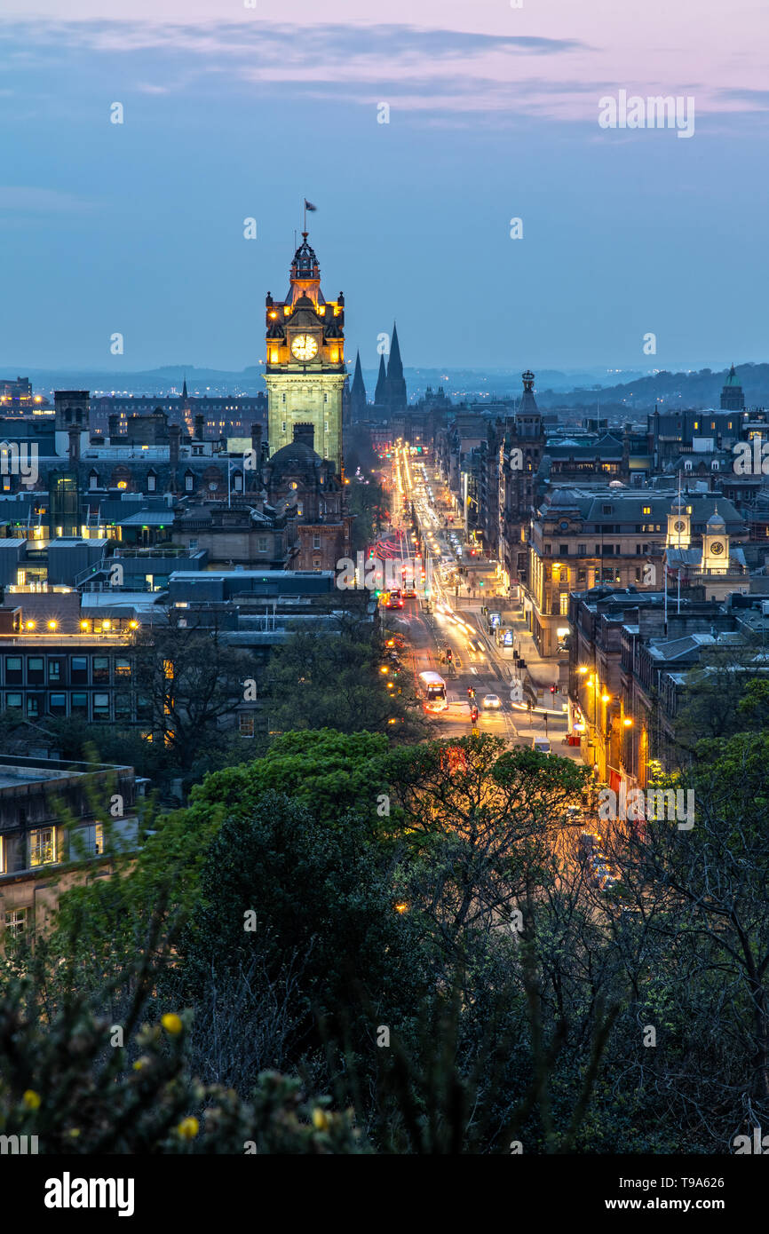 View Over Princes Street and the City of Edinburgh in Scotland from Carlton Hill Stock Photo