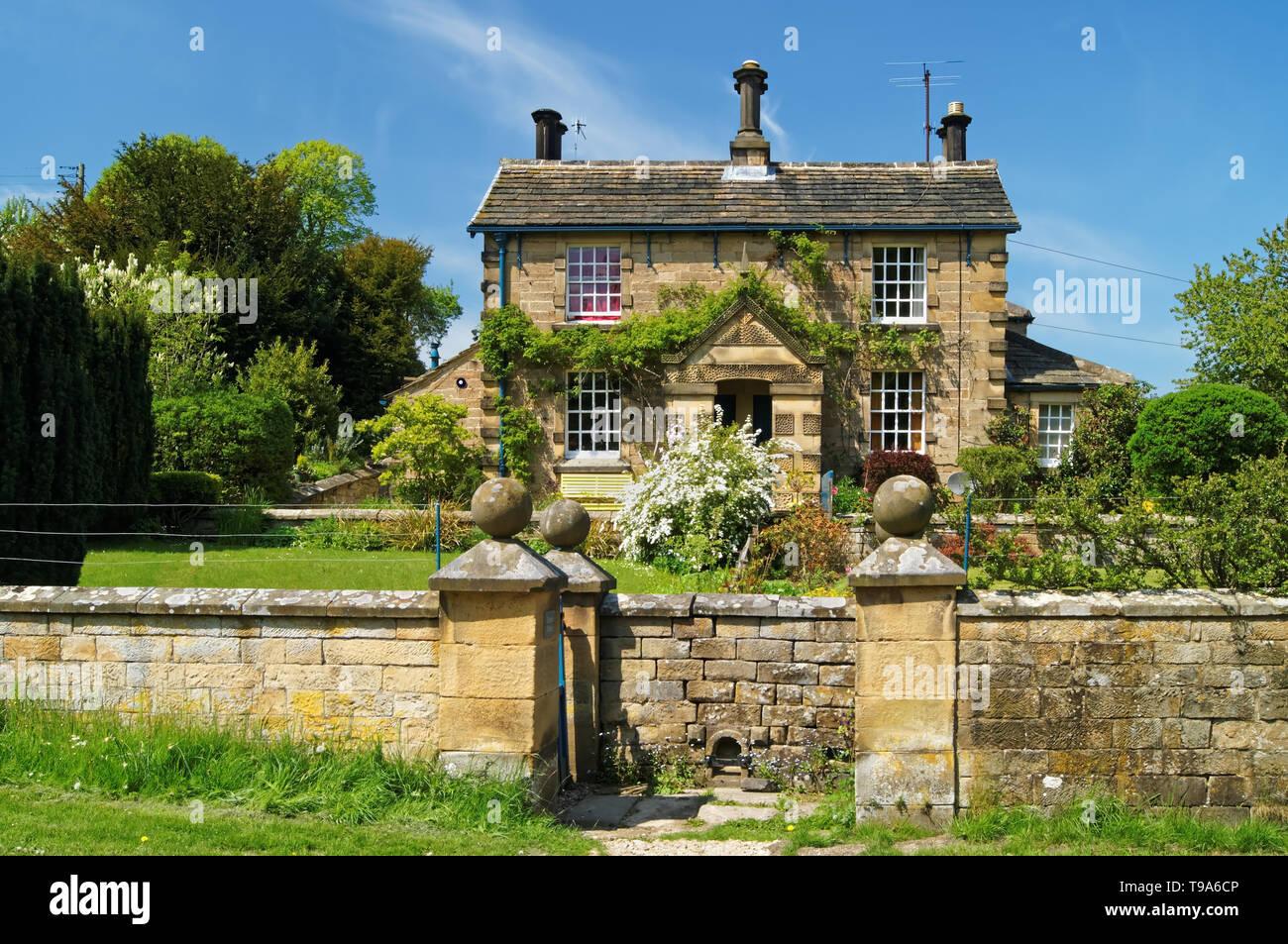 UK,Derbyshire,Peak District,Chatsworth Park,Edensor Cottage - Stock Image