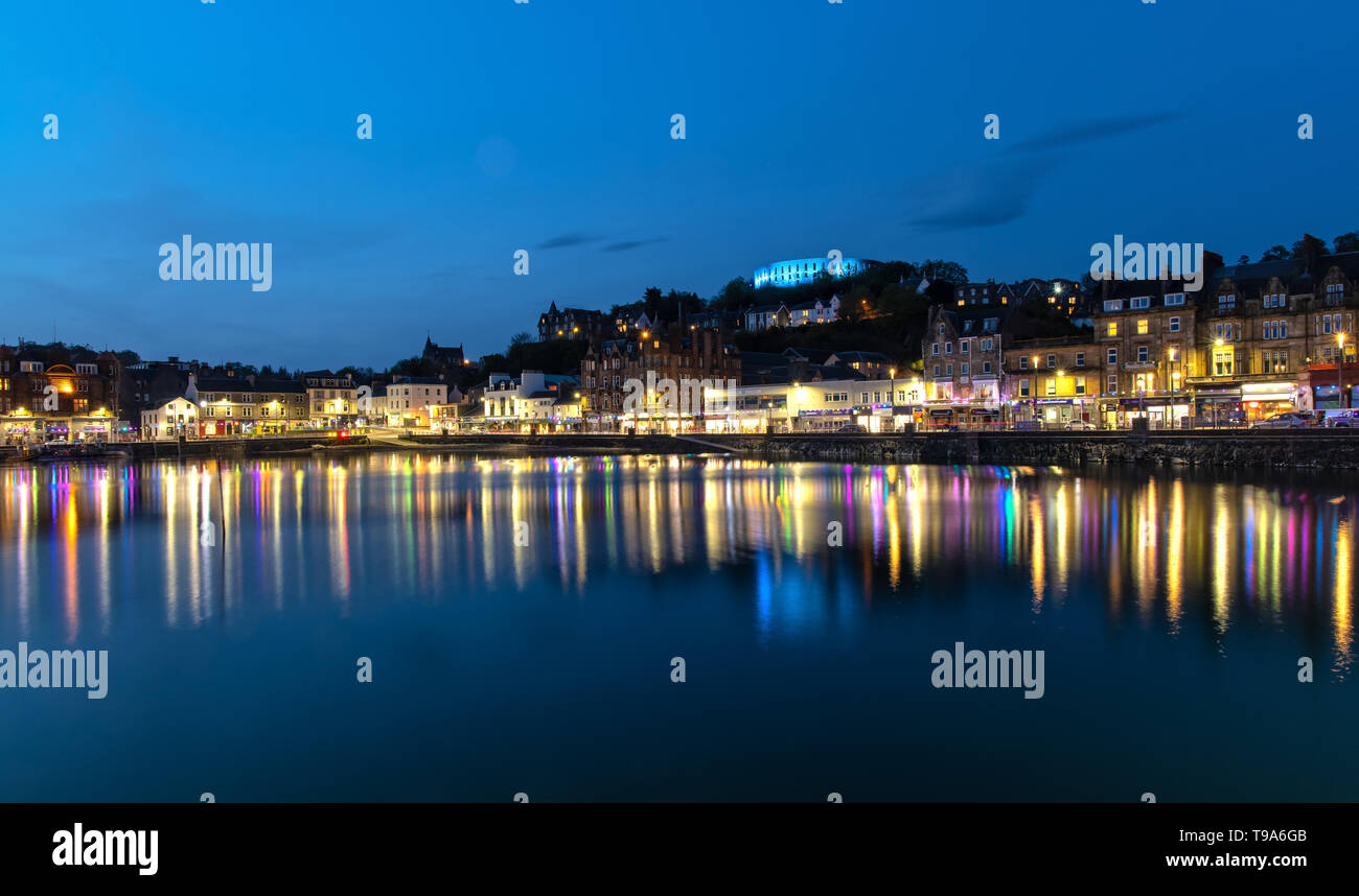 Scenic View over Oban in Scotland at Night Stock Photo