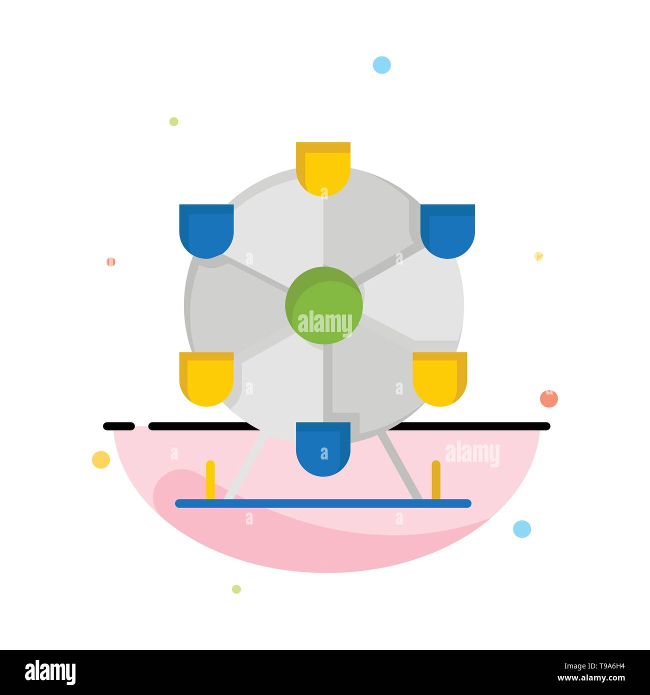 Atomium, Landmark, Monument Abstract Flat Color Icon Template - Stock Image