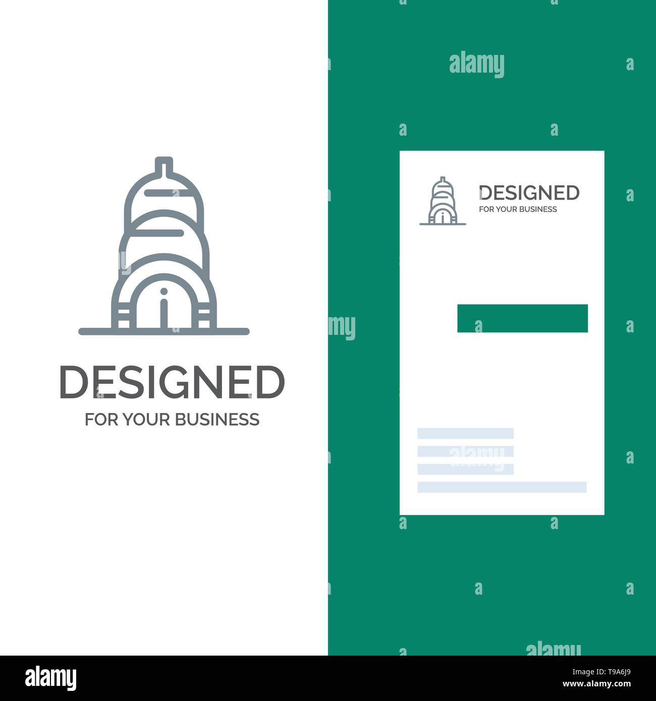Chrysler, Building, Usa Grey Logo Design and Business Card Template - Stock Image