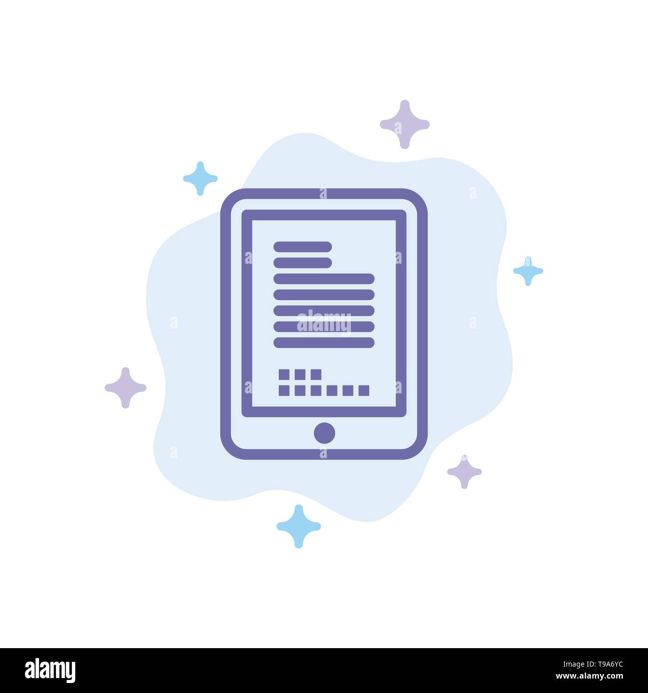 Mobile, Coding, Hardware, Cell Blue Icon on Abstract Cloud Background - Stock Image