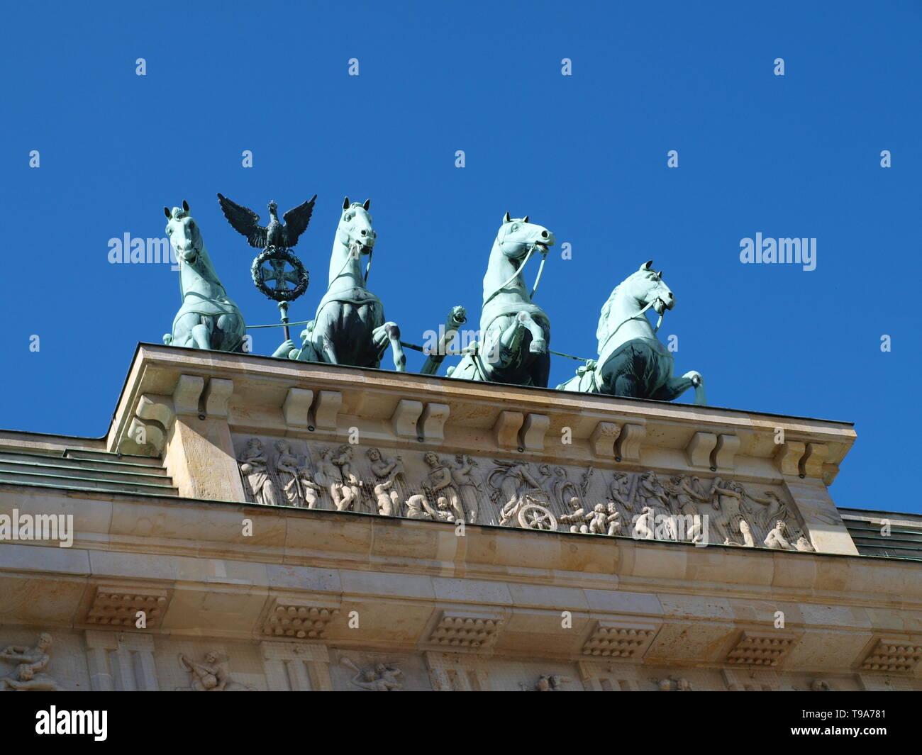 Brandenburger Tor Berlin Pferde Statue - Stock Image