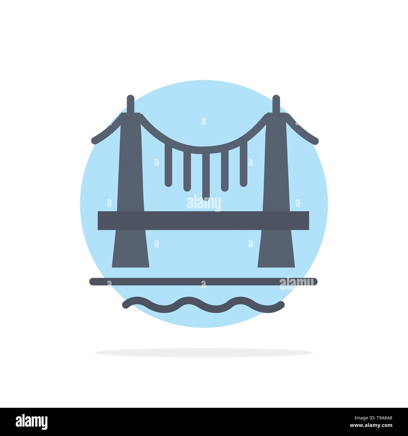 Bridge, Building, City, Cityscape Abstract Circle Background Flat color Icon - Stock Image