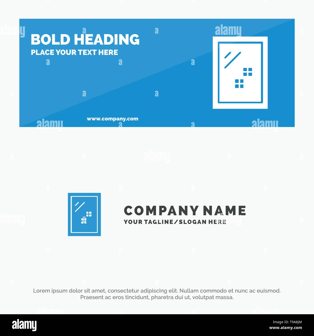 Door, Mirror, Cleaning, Wash SOlid Icon Website Banner and Business Logo Template - Stock Image