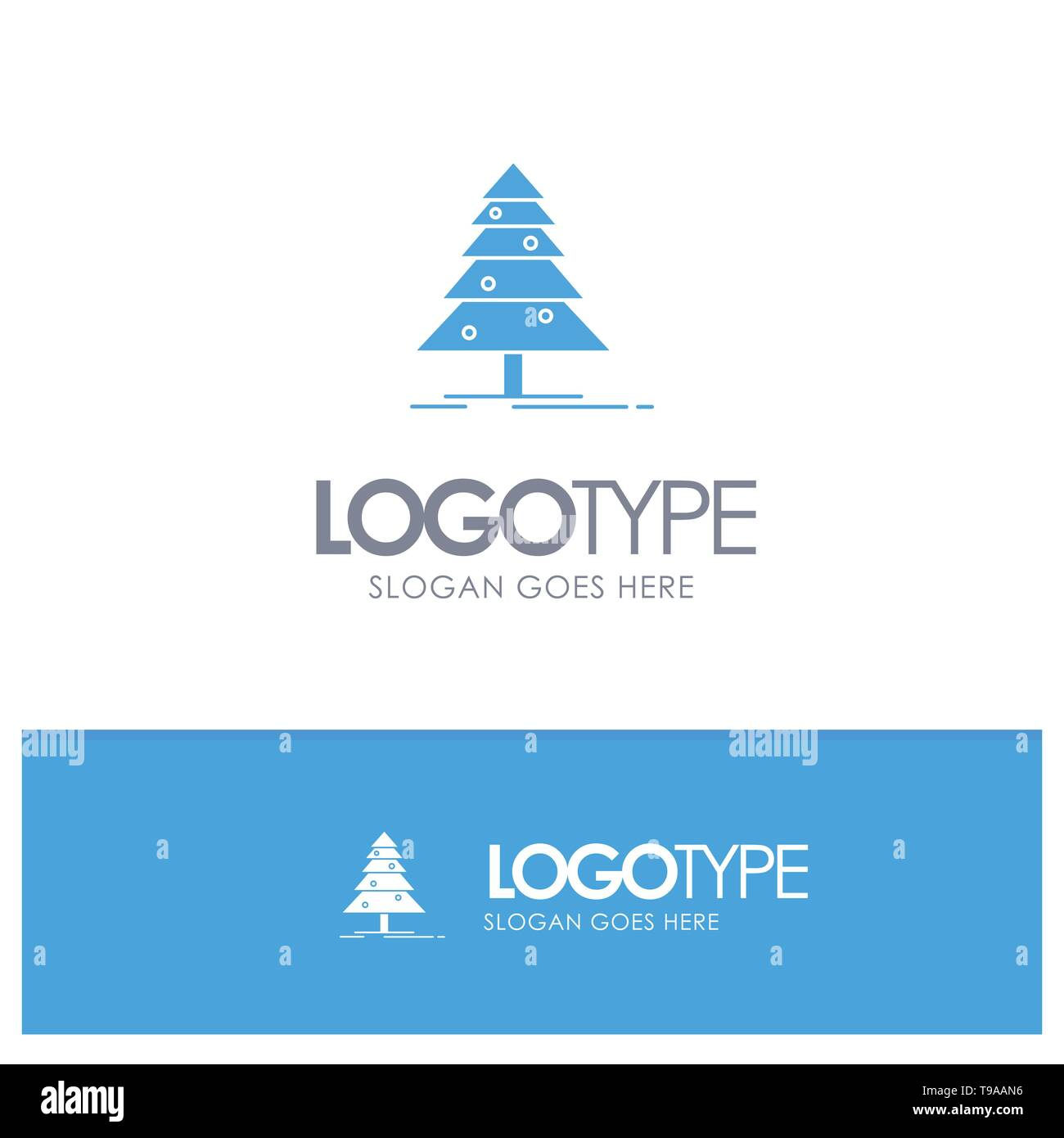 Tree, Forest, Christmas, XMas Blue Solid Logo with place for tagline - Stock Image