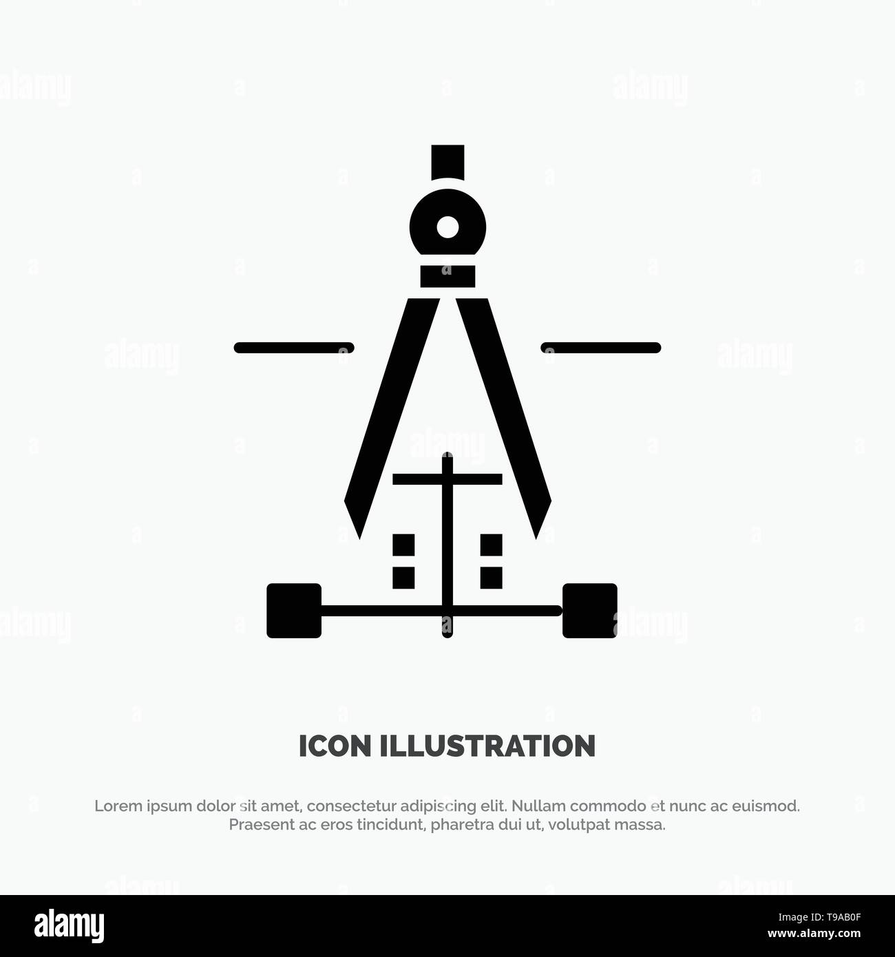 Compass, Drawing, Education, Engineering Solid Black Glyph Icon Stock Vector