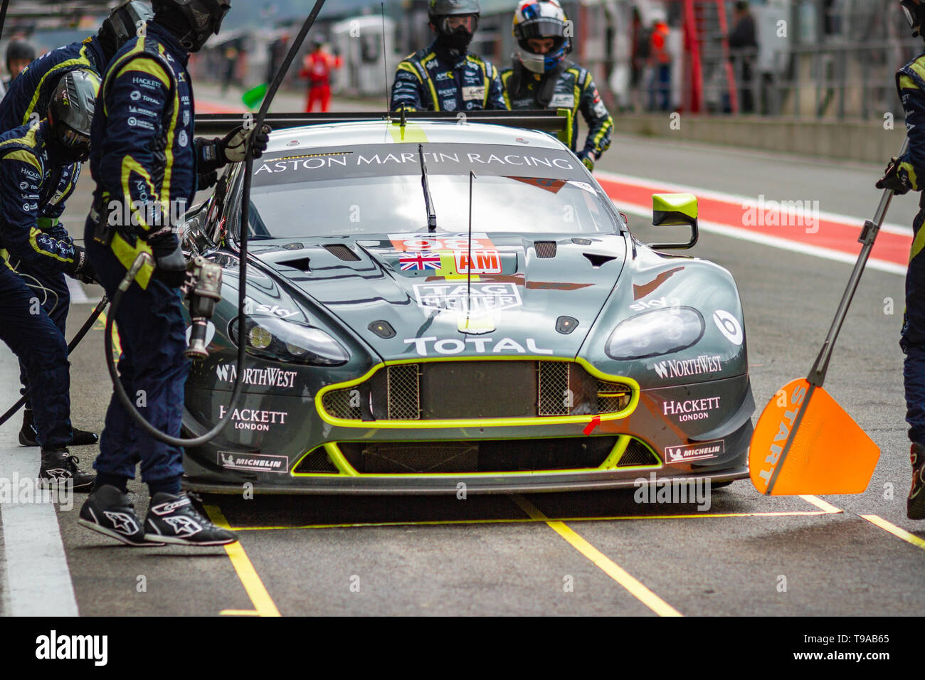 actionAston Martin Racing GTE Am car pit stop, Friday practice WEC Total 6 Hours of Spa-Francorchamps 2019 Stock Photo