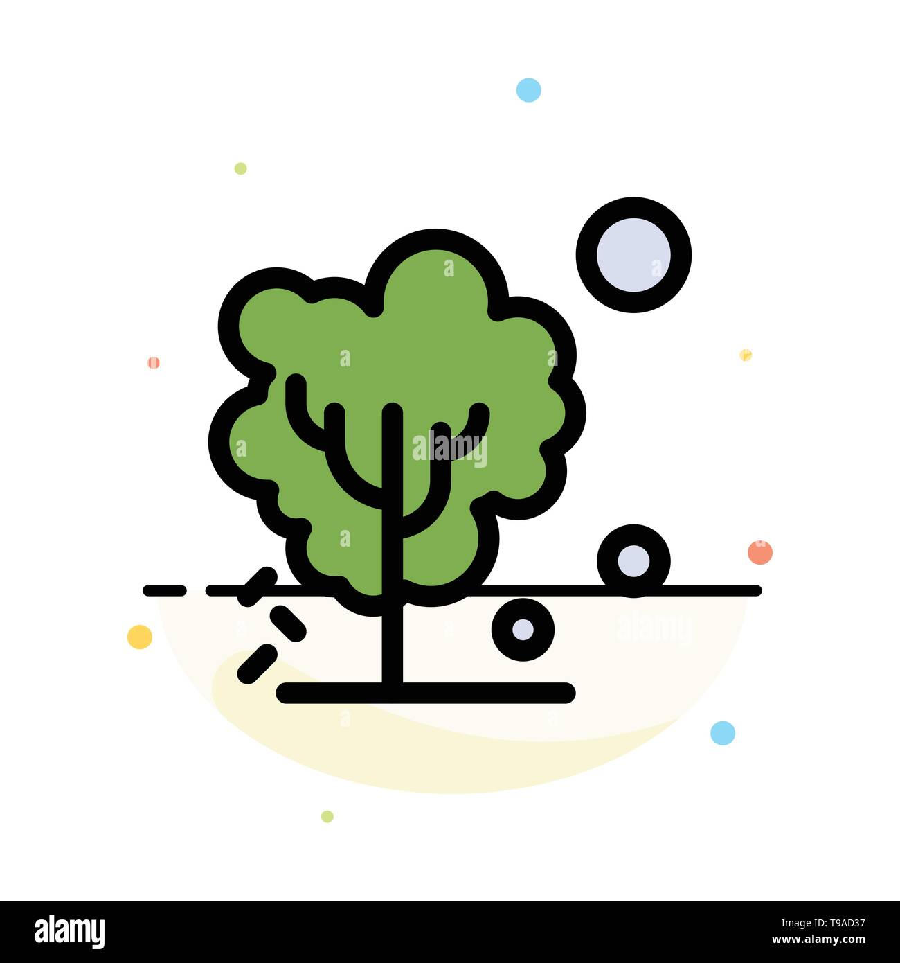 Dry, Global, Soil, Tree, Warming Abstract Flat Color Icon Template - Stock Image