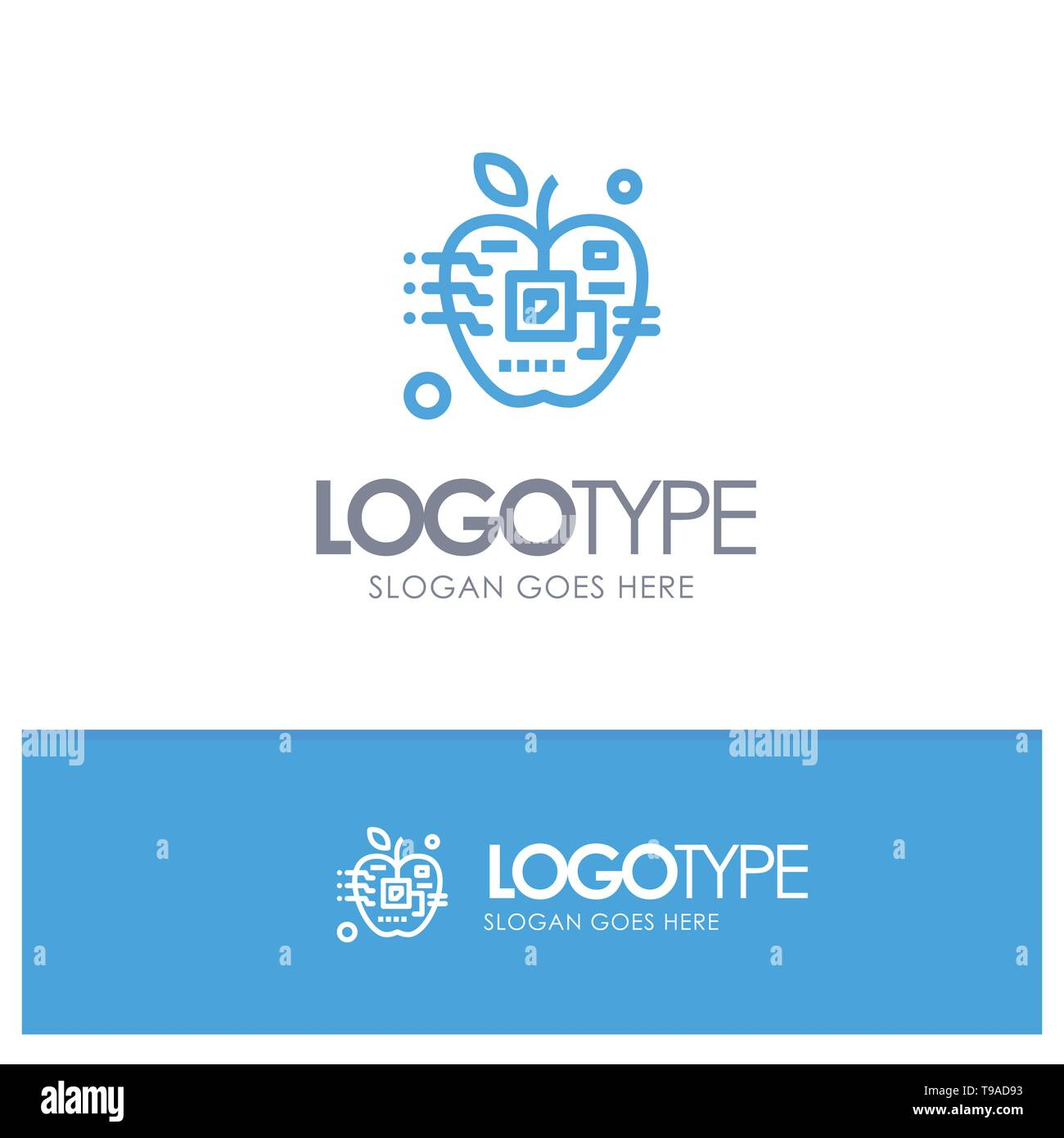Apple, Artificial, Biology, Digital, Electronic Blue outLine Logo with place for tagline - Stock Image