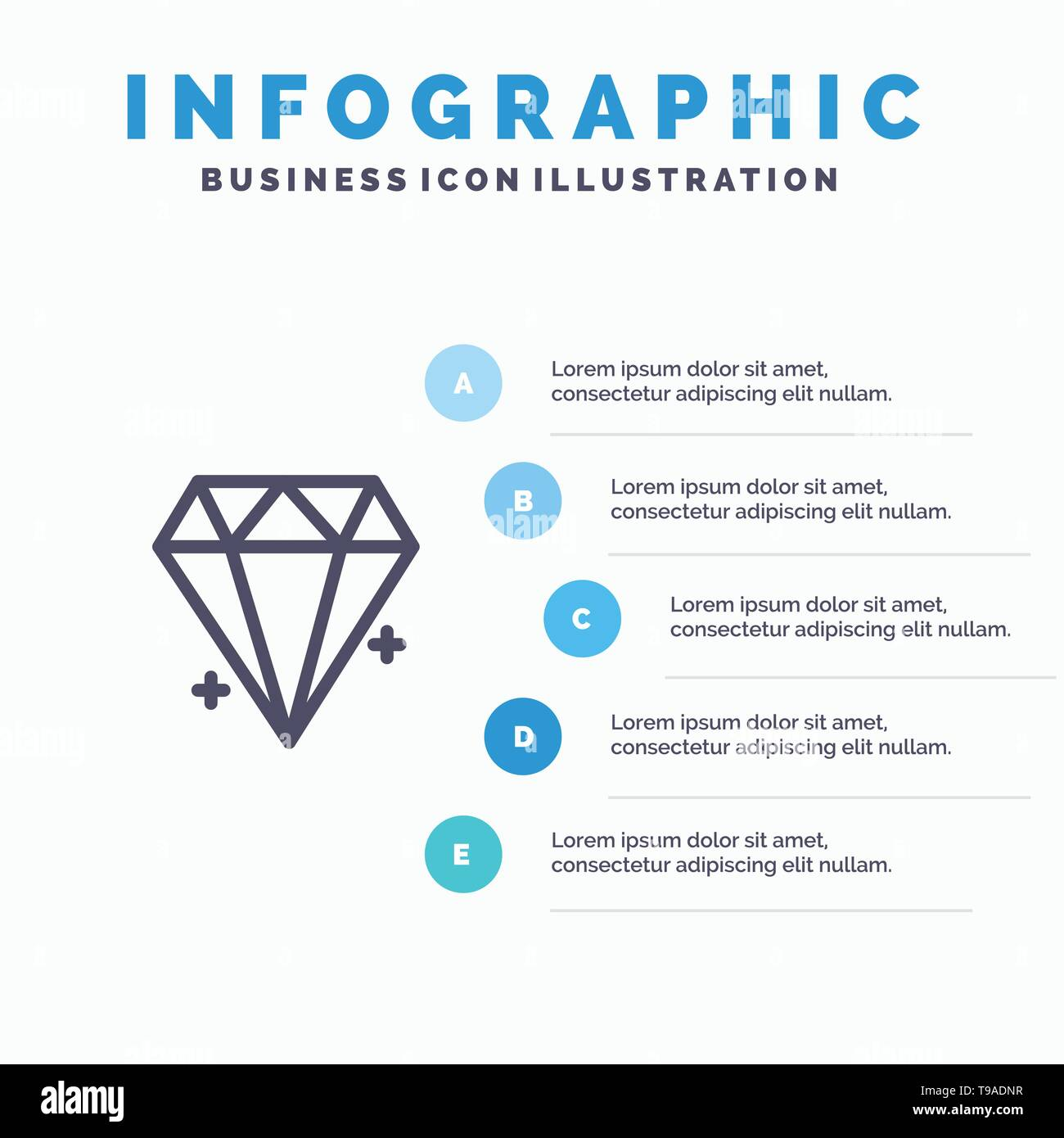 Diamond, Ecommerce, Jewelry, Jewel Blue Infographics Template 5 Steps. Vector Line Icon template - Stock Image