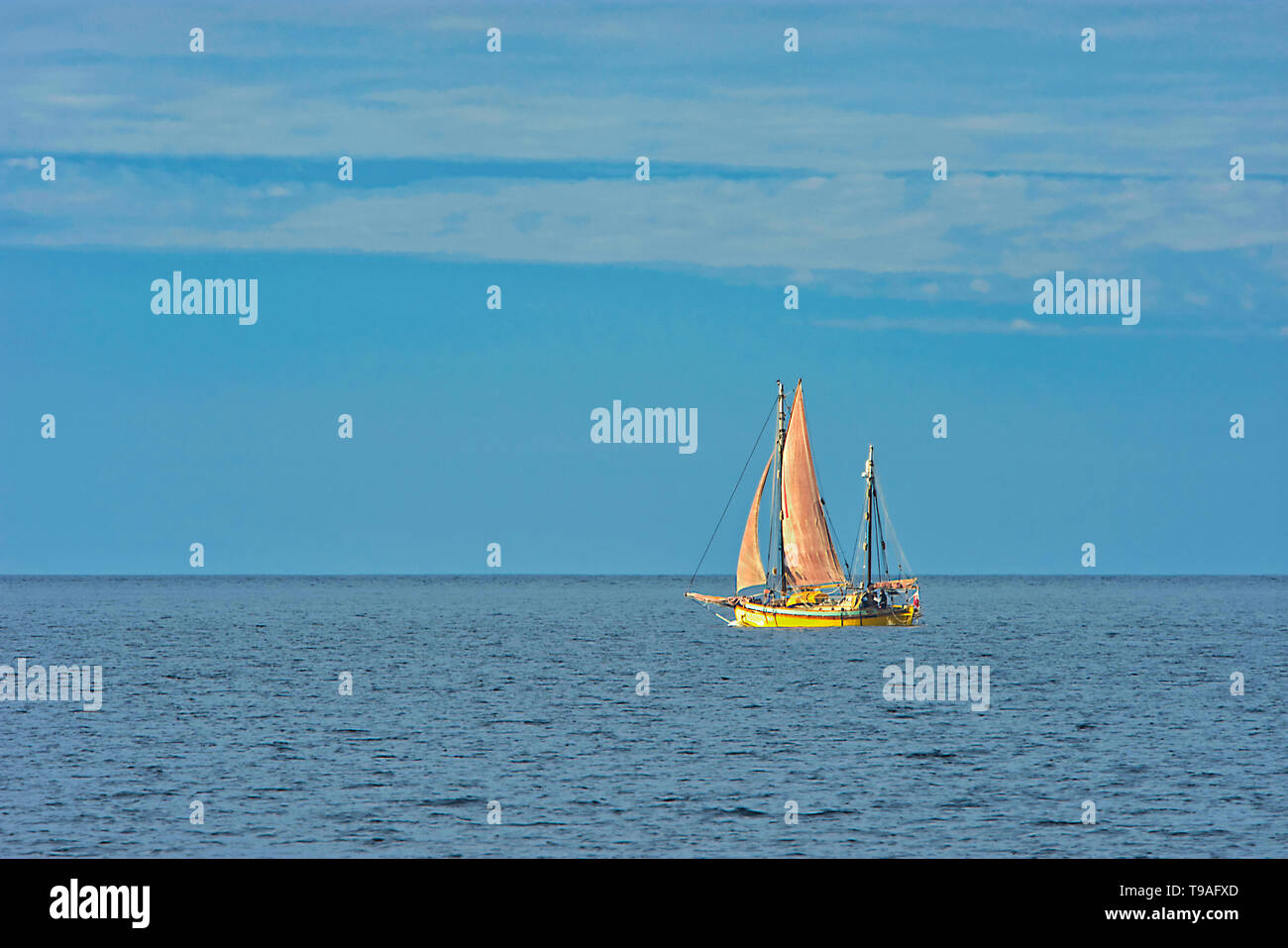 Sailboat on Gulf of St. Lawrence Gaspe Peninsula Quebec Canada - Stock Image