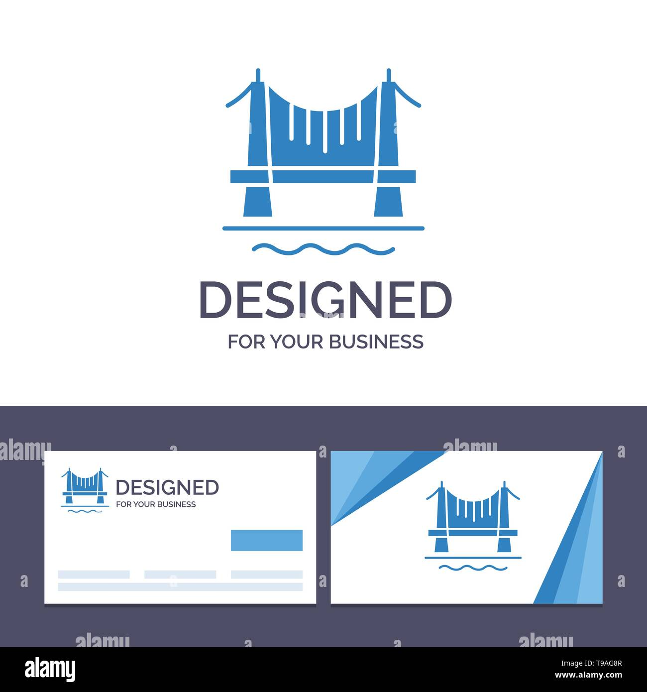 Creative Business Card and Logo template Bridge, Building, City, Cityscape Vector Illustration - Stock Image