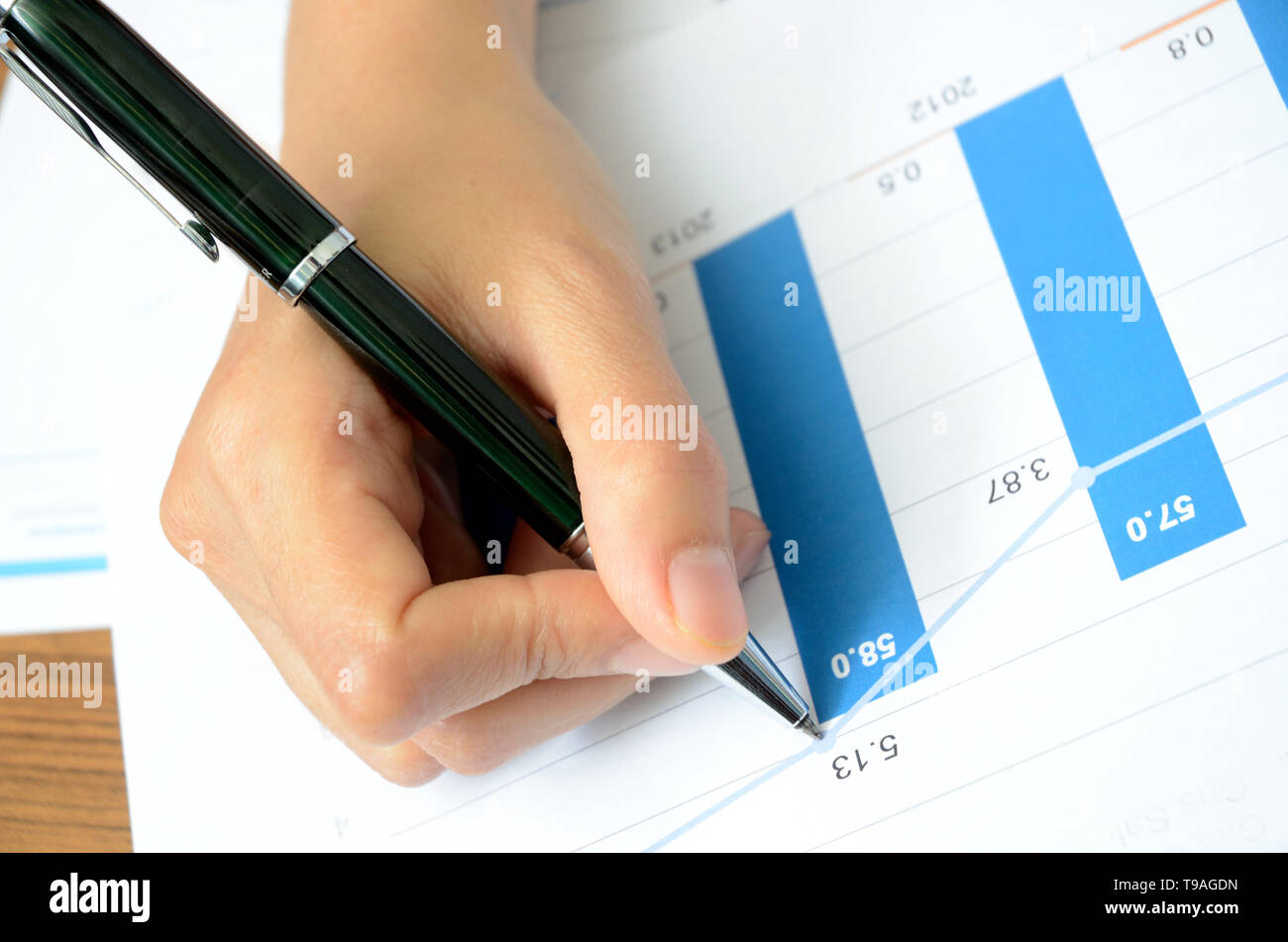 office activity, productivities, cost and graphic chart - Stock Image