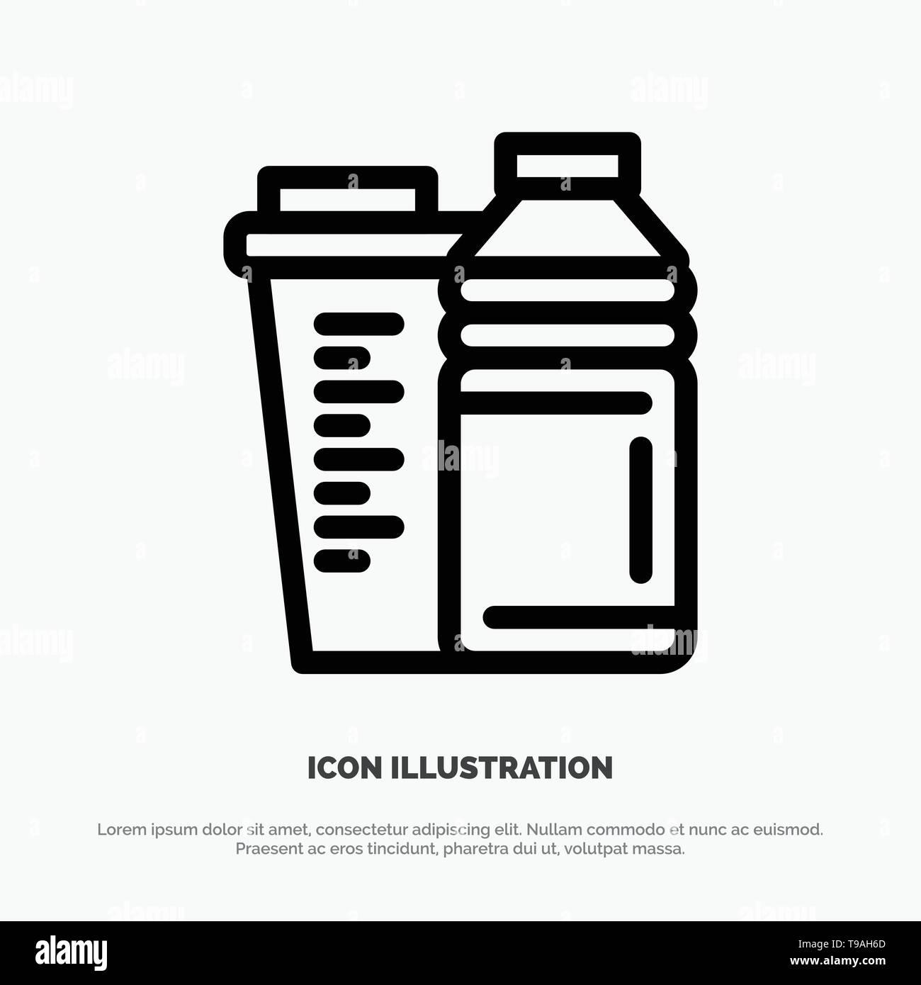 Bottle, Drink, Energy, Shaker, Sport Line Icon Vector - Stock Image