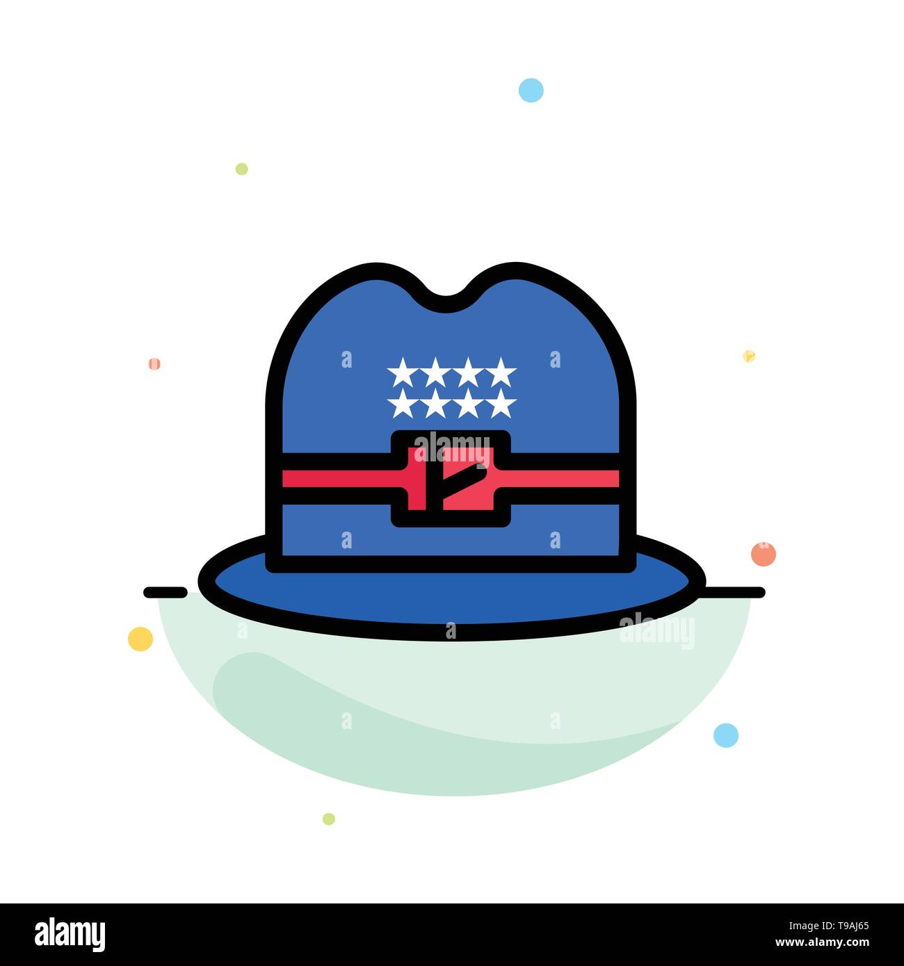 Hat, Cap, American Abstract Flat Color Icon Template - Stock Image