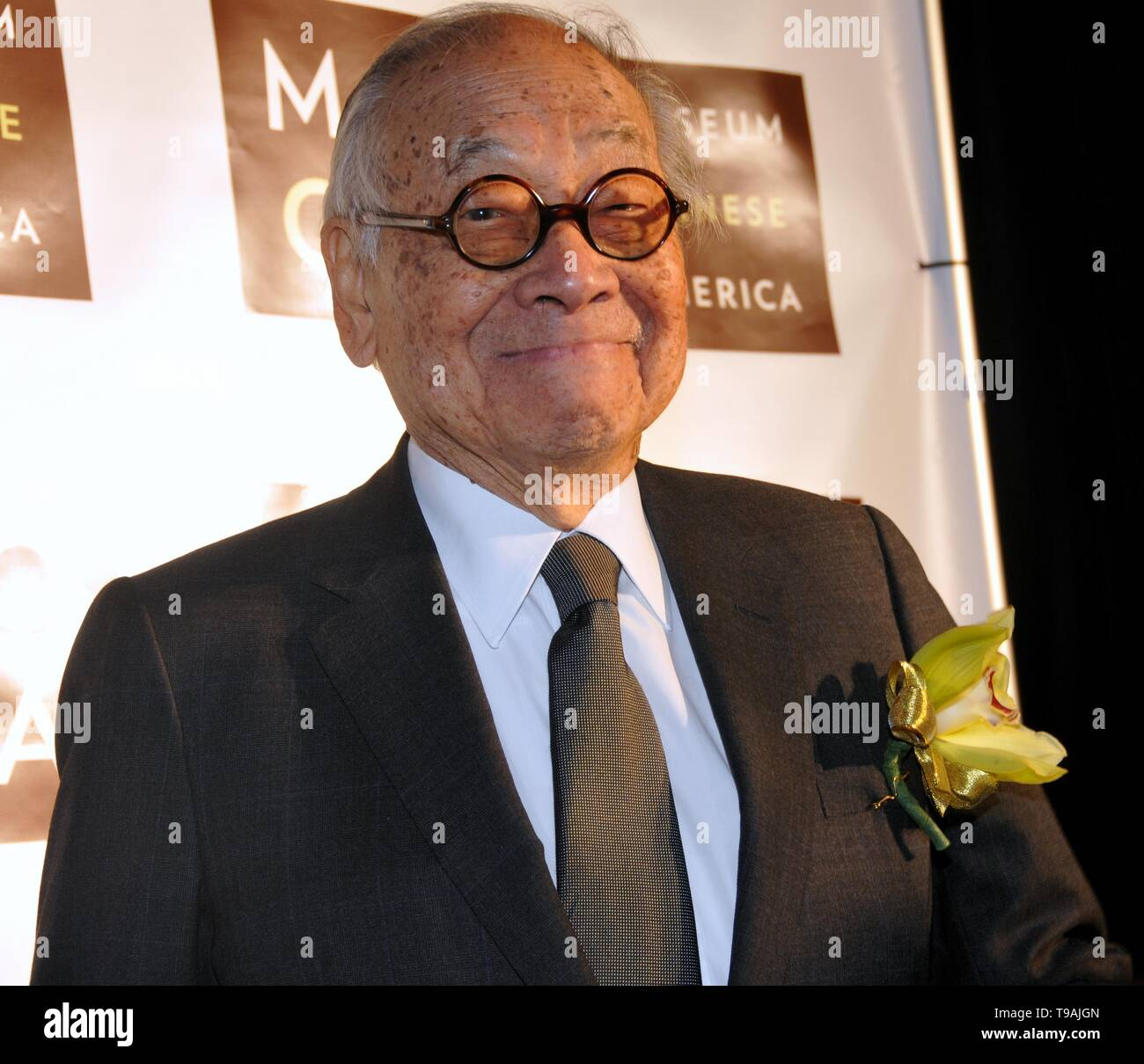 Beijing, China. 16th Dec, 2009. File photo taken on Dec. 16, 2009 shows world-renowned architect Ieoh Ming Pei attending a dinner event at the Museum of Chinese in America in New York, the United States. Ieoh Ming Pei, commonly known as I.M. Pei, died Thursday at age 102. Pei was born in Guangzhou of China and moved to the United States in 1935. He won a wide variety of prizes and awards in the field of architecture. Credit: Wang Jiangang/Xinhua/Alamy Live News - Stock Image
