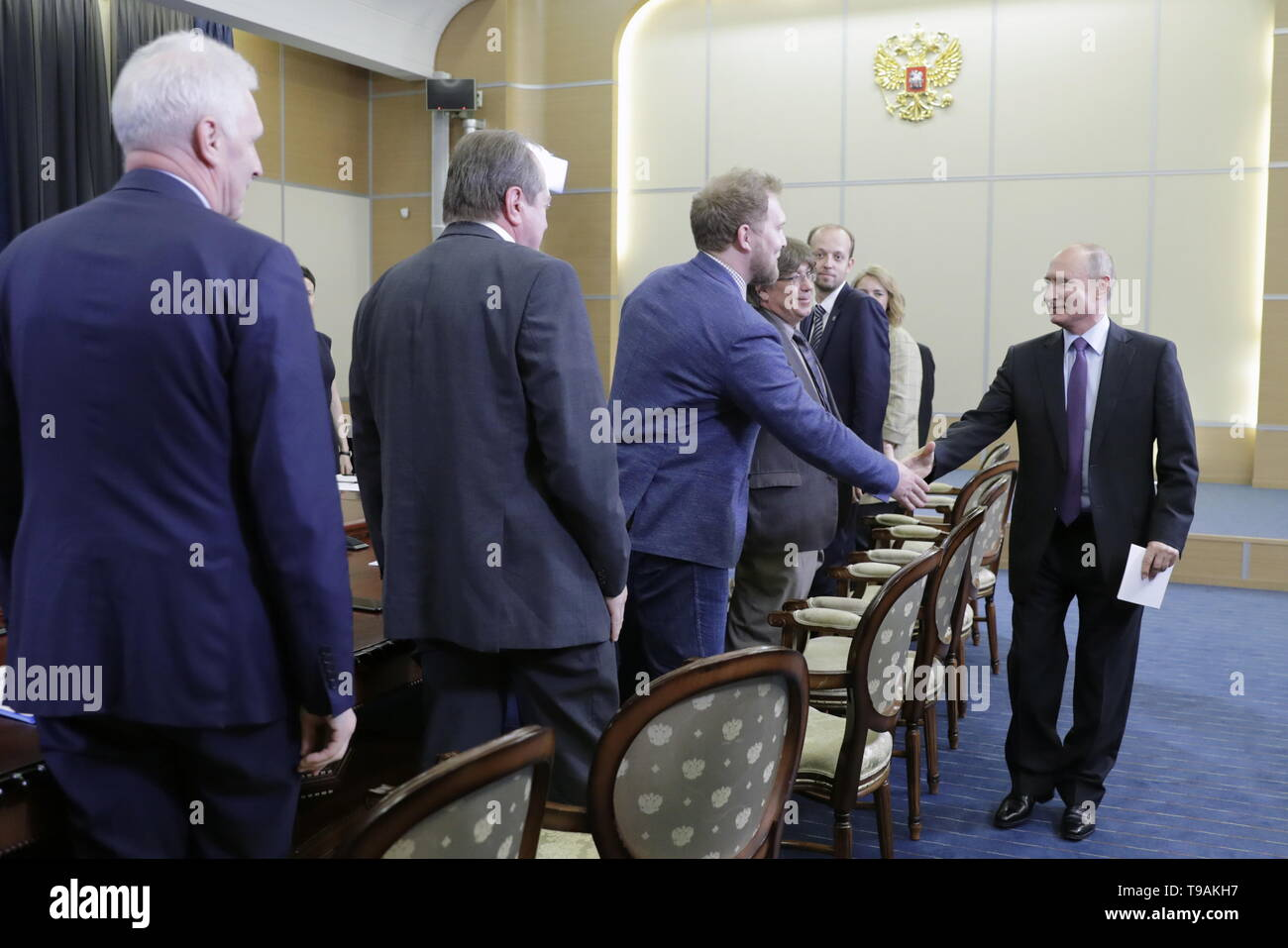 Sochi, Russia. 17th May, 2019. SOCHI, RUSSIA - MAY 17, 2019: Russian Presidential Aide Andrei Fursenko, Konstantin Krutovsky, professor of Genetics at the University of Gottingen (Germany), Bauman Moscow State Technical University Laboratory head Vladimir Lazarev, and Russia's President Vladimir Putin (L-R) during a meeting with the winners of 'megagrants' for scientific research. Mikhail Metzel/TASS Credit: ITAR-TASS News Agency/Alamy Live News Stock Photo