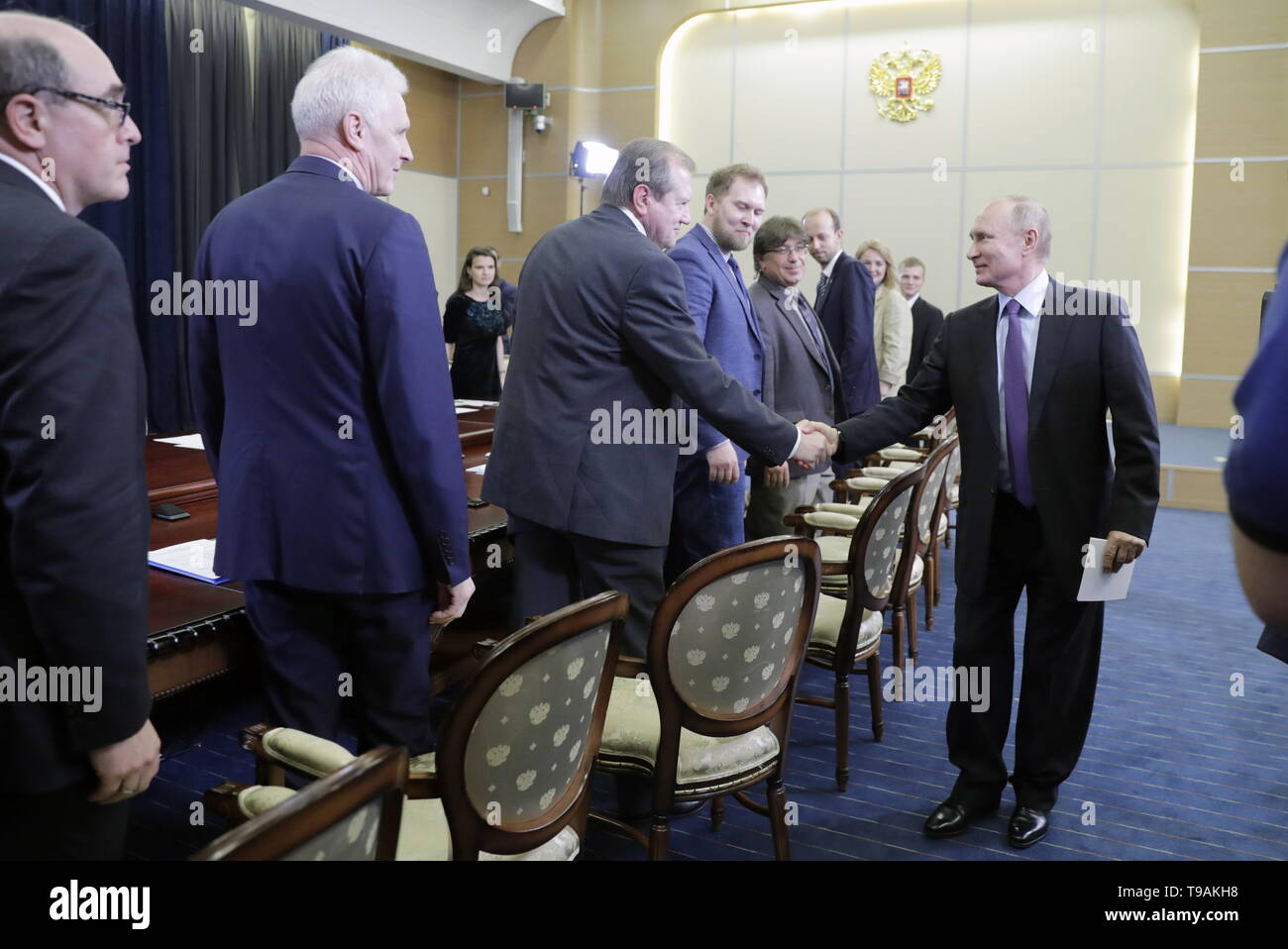 Sochi, Russia. 17th May, 2019. SOCHI, RUSSIA - MAY 17, 2019: Alexander Kabanov, an honoured professor at the University of North Carolina (USA), Russian Presidential Aide Andrei Fursenko, Konstantin Krutovsky, professor of Genetics at the University of Gottingen (Germany), Bauman Moscow State Technical University Laboratory head Vladimir Lazarev, and Russia's President Vladimir Putin (L-R) during a meeting with the winners of 'megagrants' for scientific research. Mikhail Metzel/TASS Credit: ITAR-TASS News Agency/Alamy Live News - Stock Image