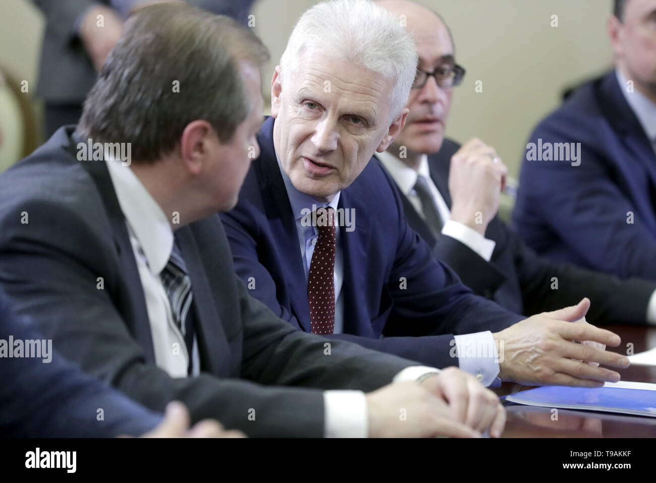 Sochi, Russia. 17th May, 2019. SOCHI, RUSSIA - MAY 17, 2019: Konstantin Krutovsky, professor of Genetics at the University of Gottingen (Germany), Russian Presidential Aide Andrei Fursenko, Alexander Kabanov (L-R), an honoured professor at the University of North Carolina (USA), during a meeting of Russia's President Vladimir Putin with the winners of 'megagrants' for scientific research. Mikhail Metzel/TASS Credit: ITAR-TASS News Agency/Alamy Live News Stock Photo