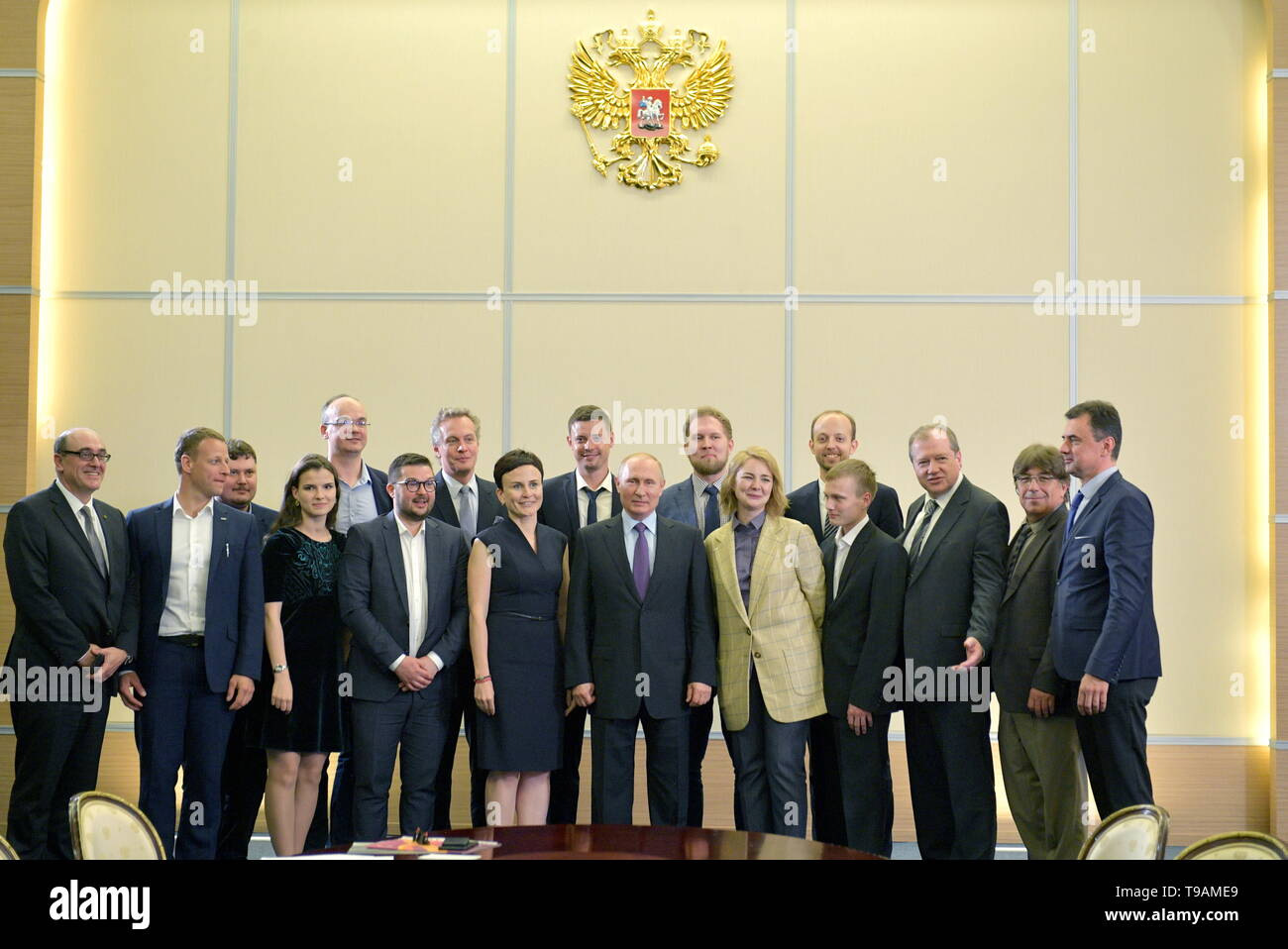 Moscow, Russia. 17th May, 2019. SOCHI, RUSSIA - MAY 17, 2019: Russia's President Vladimir Putin (C) poses for a agroup photo during a meeting with the winners of 'megagrants' for scientific research. Alexei Druzhinin/Russian Presidential Press and Information Office/TASS Credit: ITAR-TASS News Agency/Alamy Live News - Stock Image