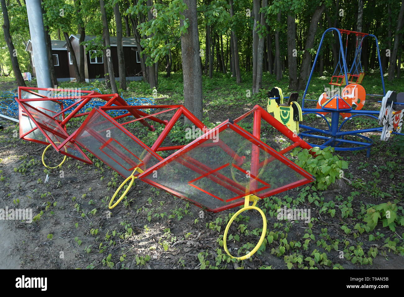 Ryazan, Russia. 17th May, 2019. RYAZAN, RUSSIA - MAY 17, 2019: Uninstalled equipment on a children's playground in Ryazan's Lesopark. On May 16, 2019, journalists complained to Russian President Vladimir Putin about the absence of a children's playground which had been largely funded by the city budget. Alexander Ryumin/TASS Credit: ITAR-TASS News Agency/Alamy Live News - Stock Image