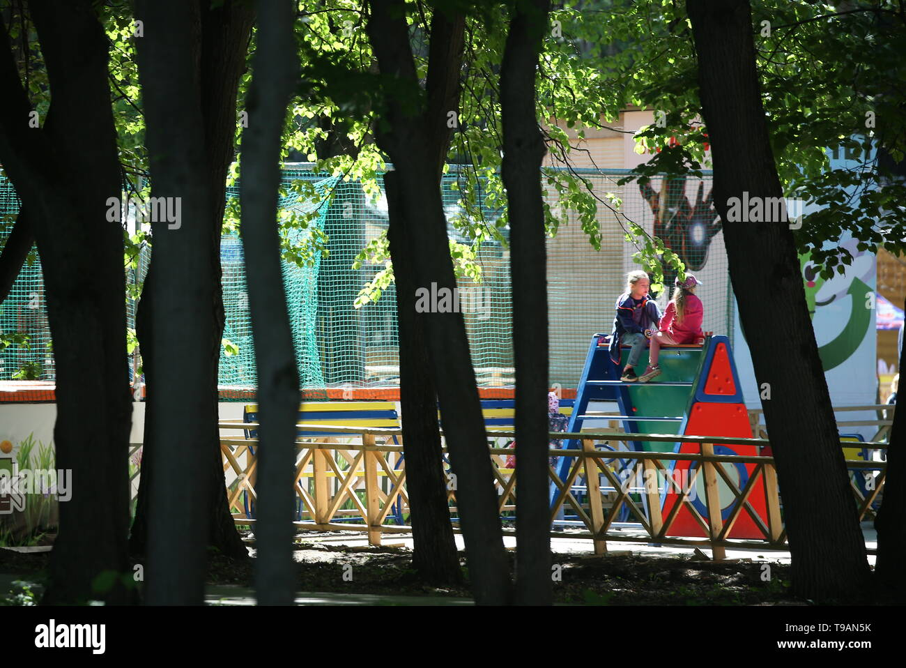 Ryazan, Russia. 17th May, 2019. RYAZAN, RUSSIA - MAY 17, 2019: A children's playground in Ryazan's Lesopark. On May 16, 2019, journalists complained to Russian President Vladimir Putin about the absence of a children's playground which had been largely funded by the city budget. Alexander Ryumin/TASS Credit: ITAR-TASS News Agency/Alamy Live News Stock Photo