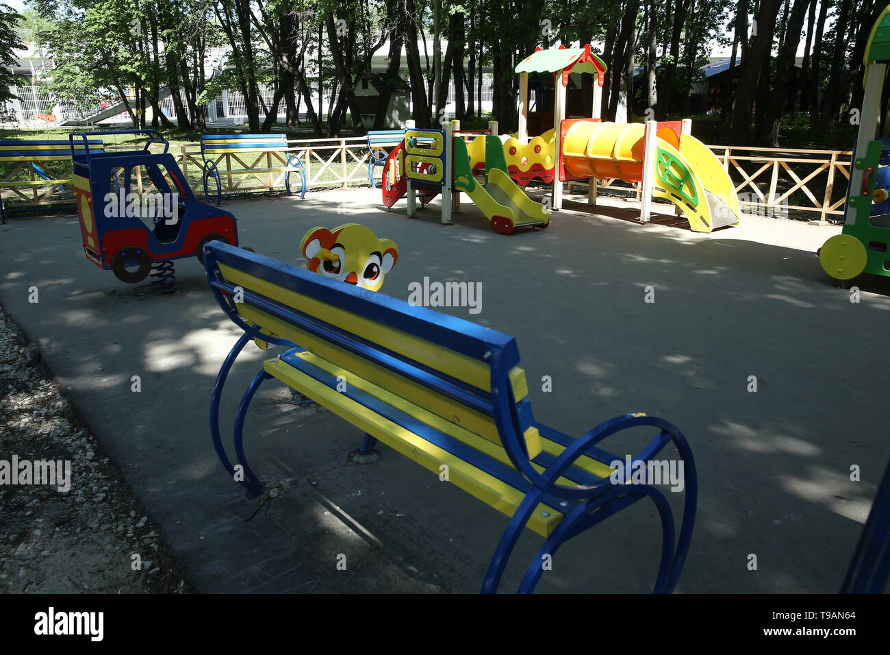 Ryazan, Russia. 17th May, 2019. RYAZAN, RUSSIA - MAY 17, 2019: A children's playground in Ryazan's Lesopark. On May 16, 2019, journalists complained to Russian President Vladimir Putin about the absence of a children's playground which had been largely funded by the city budget. Alexander Ryumin/TASS Credit: ITAR-TASS News Agency/Alamy Live News - Stock Image