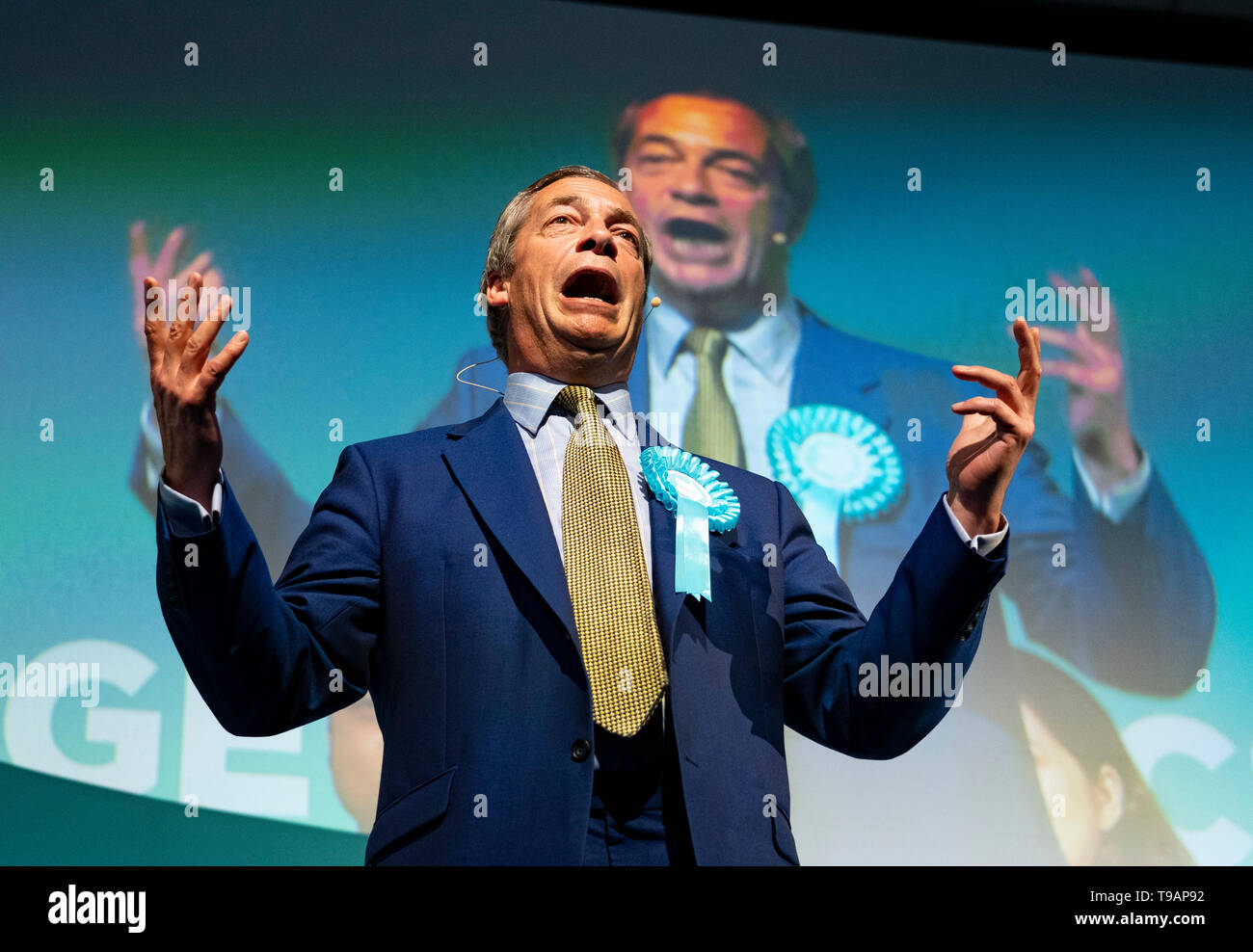 Edinburgh, Scotland, UK. 17th May, 2019. Nigel Farage in Edinburgh for a rally with the Brexit Party's European election candidates. Held at the Corn Exchange in the city. Credit: Iain Masterton/Alamy Live News Stock Photo