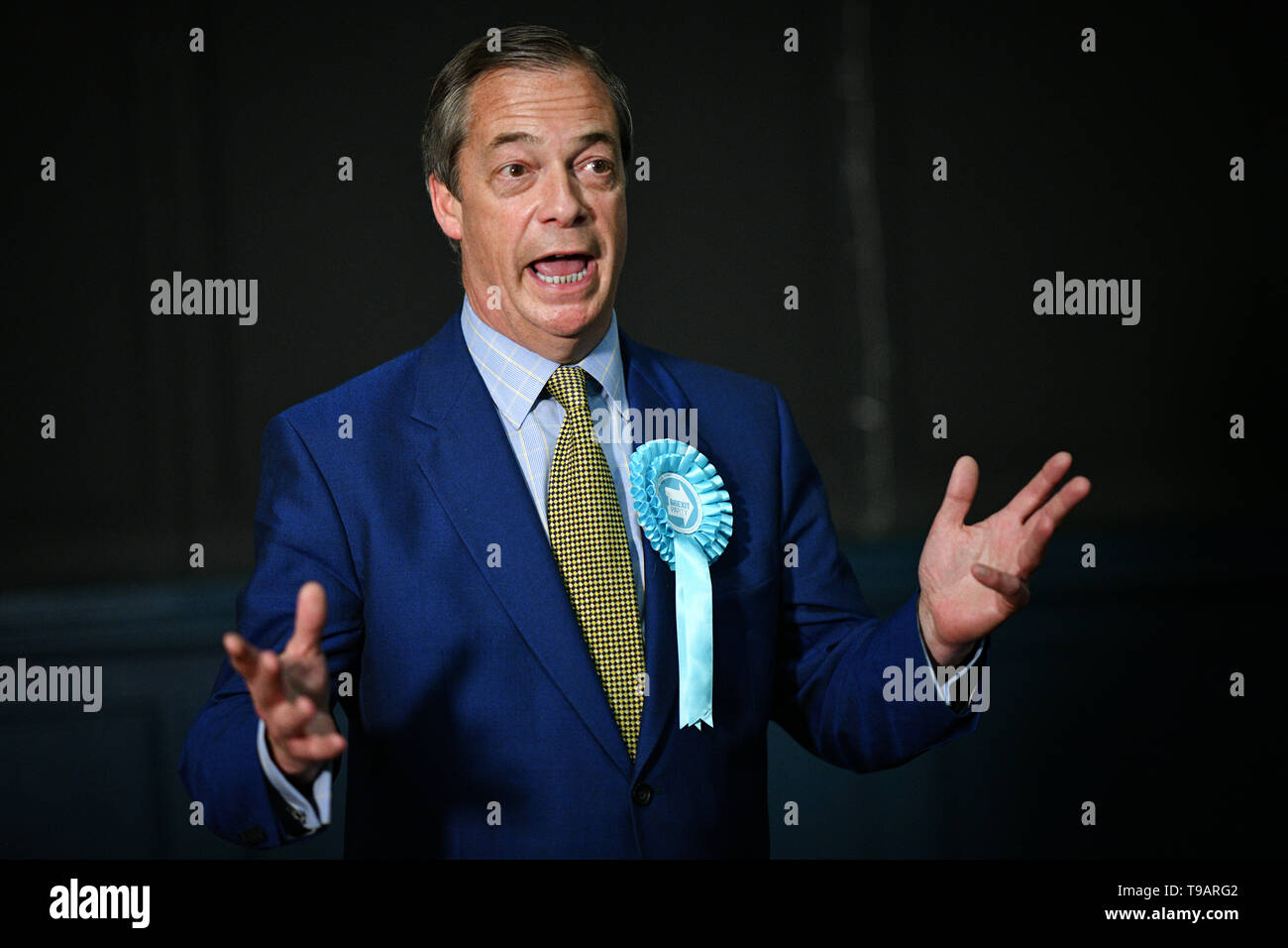 Edinburgh, Scotland, UK. 17th May 2019. Nigel Farage in Edinburgh for a rally with the Brexit PartyÕs European election candidates. Credit: Steven Scott Taylor/Alamy Live News Stock Photo