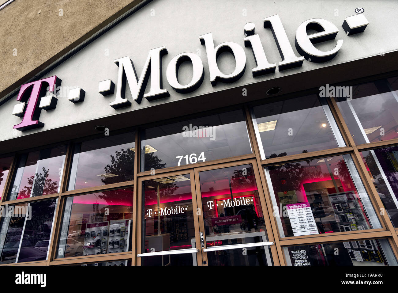 February 14, 2019 - Los Angeles, CA, United States - A T-Mobile store seen in Los Angeles. (Credit Image: © Ronen Tivony/SOPA Images via ZUMA Wire) Stock Photo