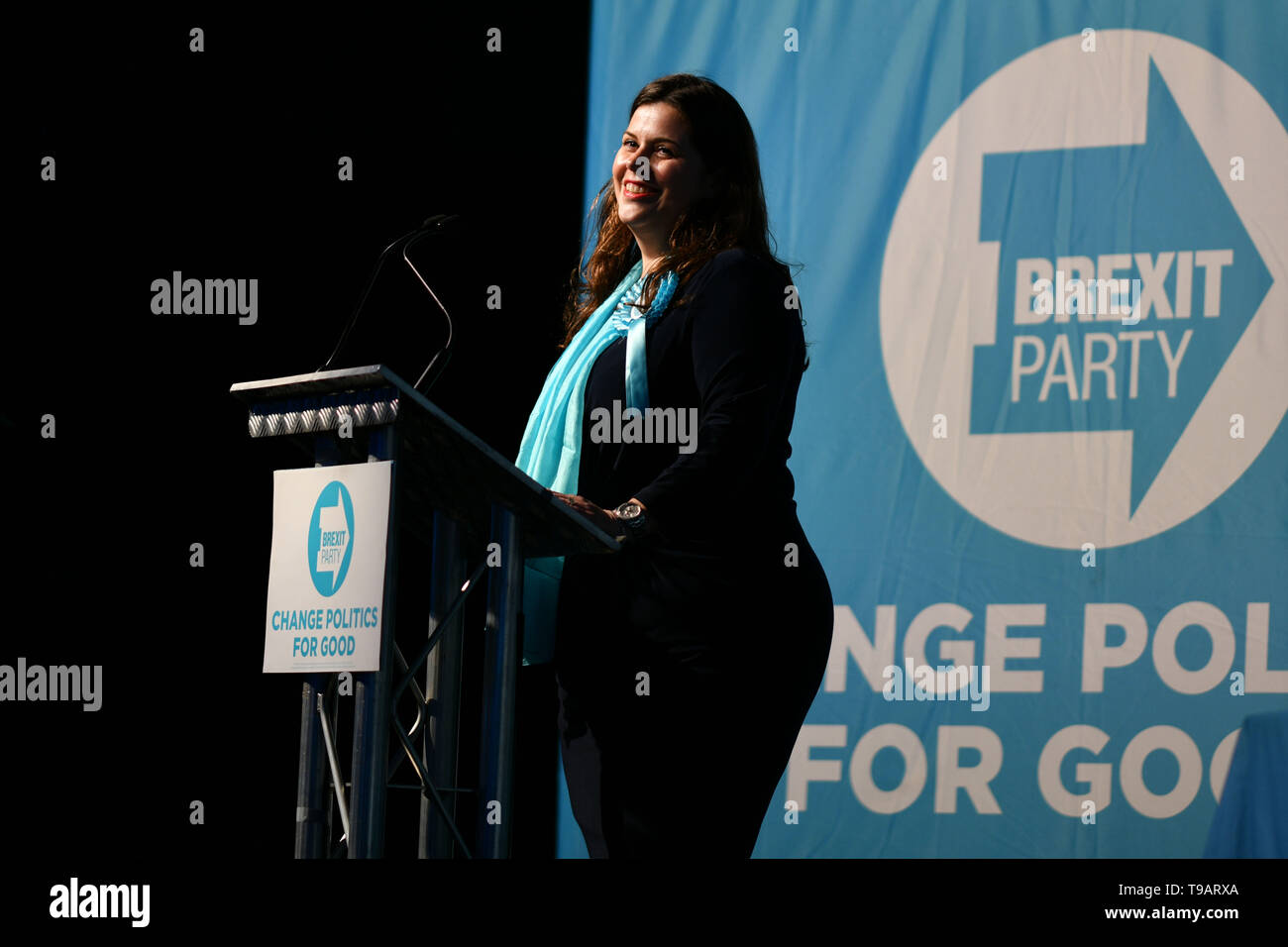 Edinburgh, Scotland, UK. 17th May 2019. Nigel Farage in Edinburgh for a rally with the Brexit Party's European election candidates. Pictured Karina Walker. Credit: Steven Scott Taylor/Alamy Live News Stock Photo