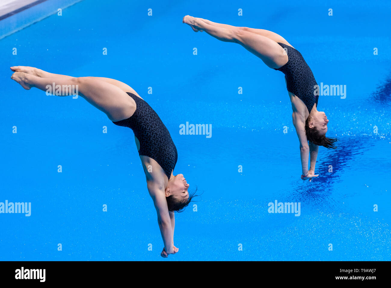 London, UK. 17th May, 2019. Viktoriya Kesar and Anna Pysmenska (UKR) compete in Women's 3m Synchro Springboard Final during FINA/CNSG Diving World Series Final at London Aquatics Centre on Friday, 17 May 2019. London England.  Credit: Taka G Wu/Alamy Live News - Stock Image