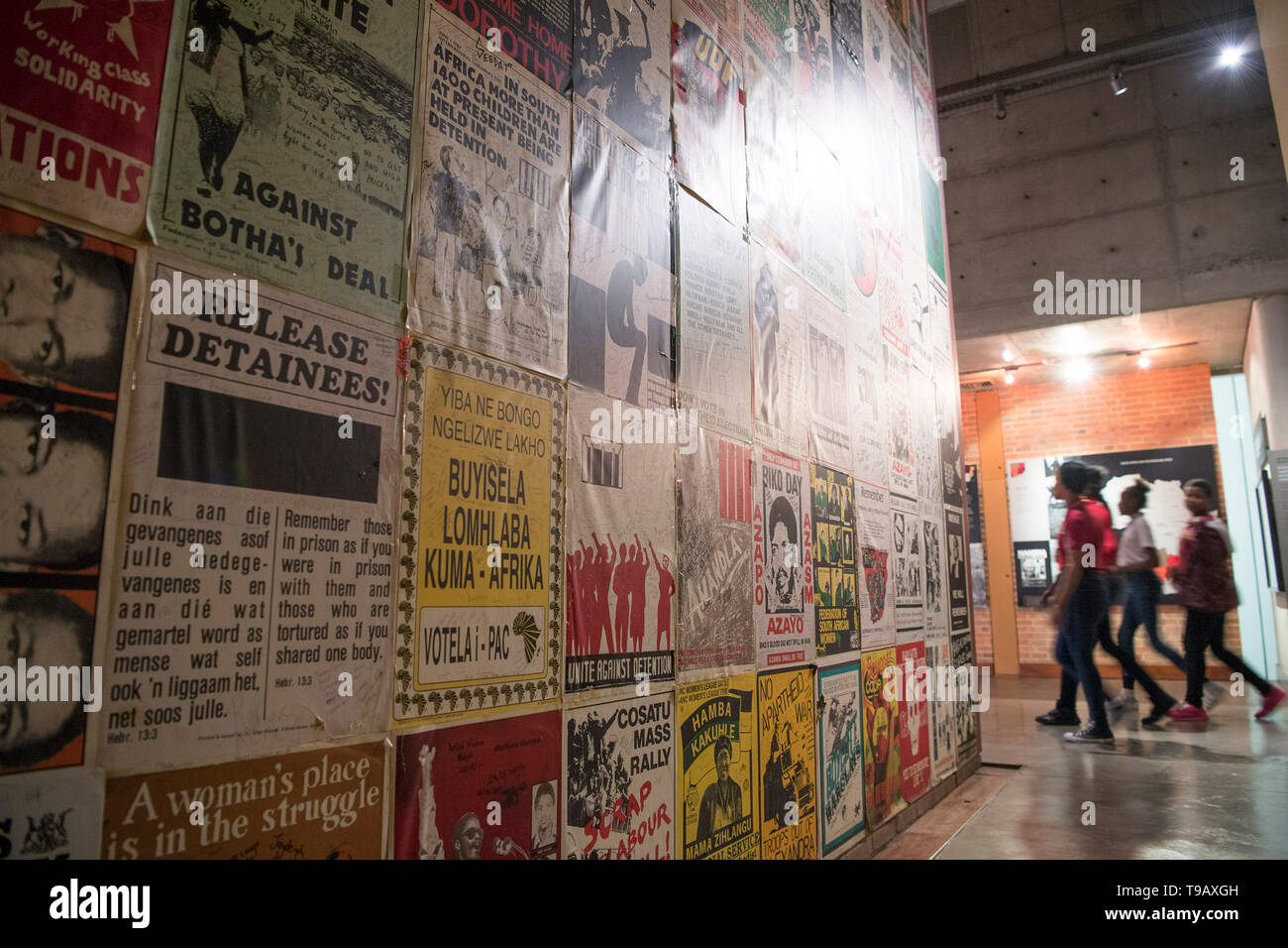 Beijing, China. 17th May, 2019. Photo taken on May 17, 2019 shows a wall covered with slogans from the apartheid era in the Apartheid Museum in Johannesburg, South Africa. The Apartheid Museum opens a window into South Africa's past struggle with colonial domination, injustices and racial segregation while spotlighting the dawn of an independence era marked with racial integration and just rule. May 18 marks the International Museum Day. Credit: Chen Cheng/Xinhua/Alamy Live News - Stock Image