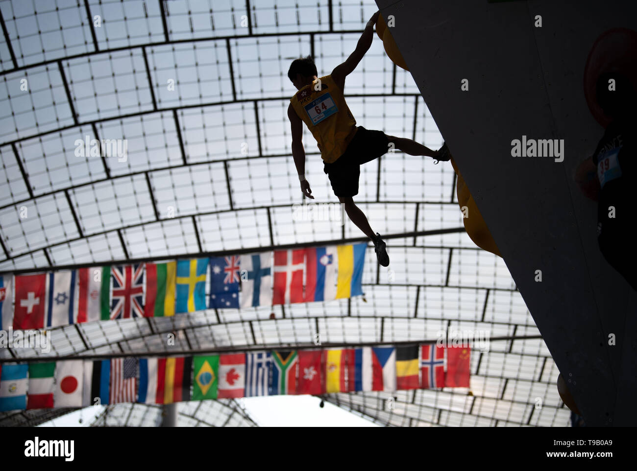 18 May 2019, Bavaria, Munich: Sports climbing: World Cup in bouldering, qualification phase men, Olympic Stadium Munich: Cheuk-hei Ho, climber team Hong Kong, lets himself fall from the top position of the boulder wall. Photo: Lino Mirgeler/dpa - Stock Image
