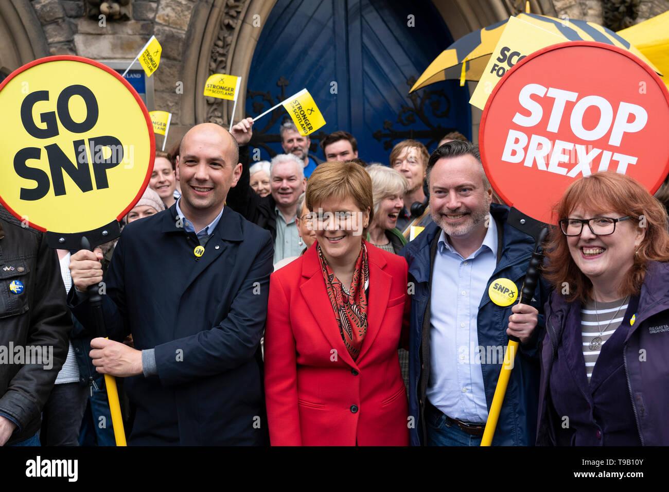 Edinburgh, Scotland, UK. 18 May 2019. Scotland's First Minister Nicola Sturgeon campaigns alongside lead SNP European candidate Alyn Smith on Leith Walk in Edinburgh. Credit: Iain Masterton/Alamy Live News - Stock Image