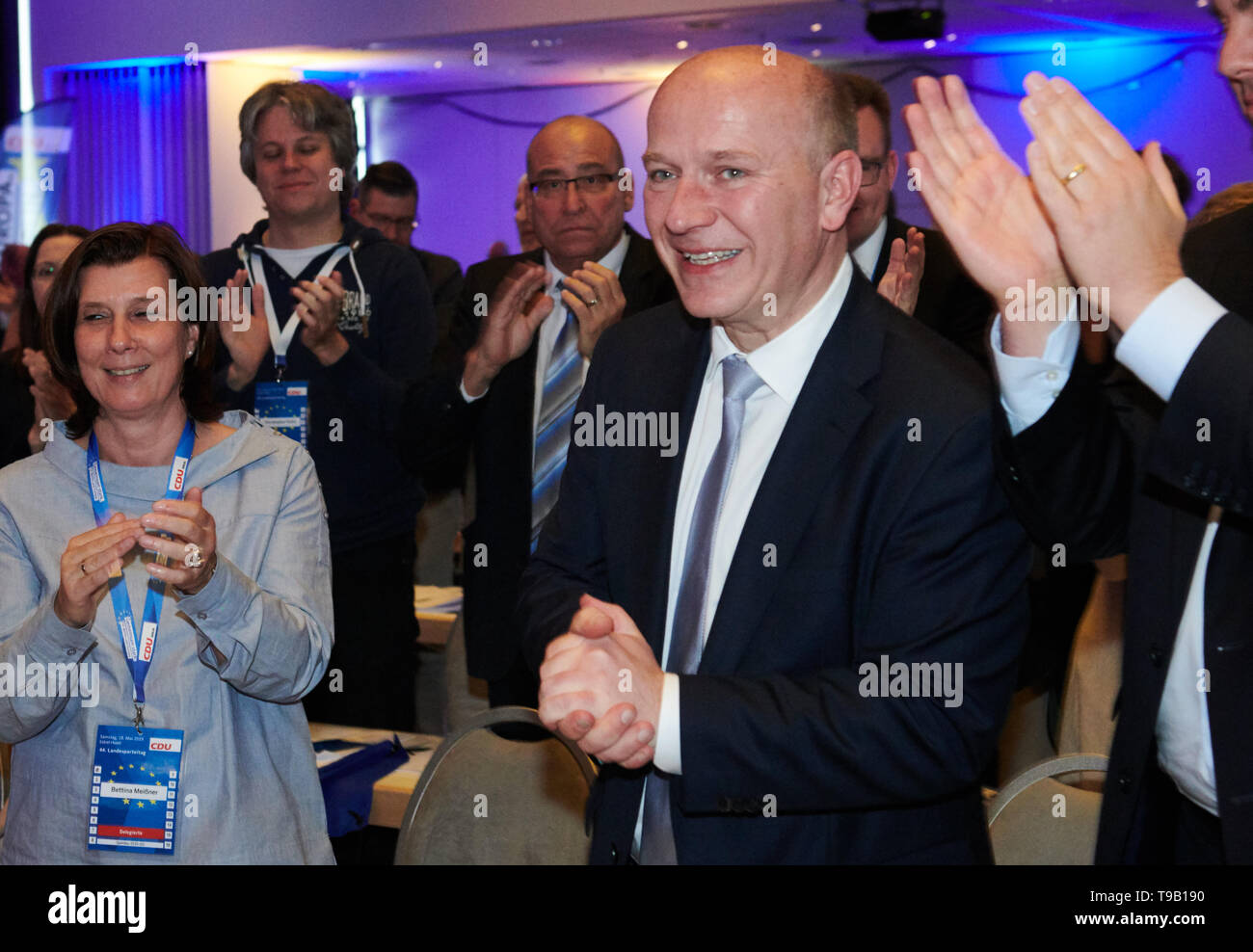Berlin, Germany. 18th May, 2019. Kai Wegner (r), new party leader of the Berlin CDU, is happy about the election. Credit: Annette Riedl/dpa/Alamy Live News Stock Photo