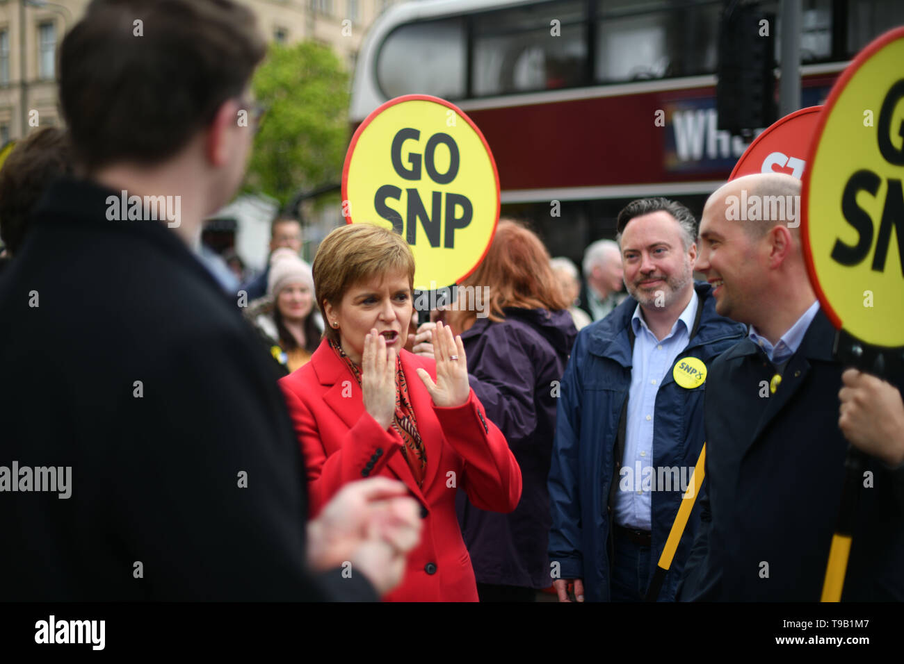 Edinburgh    May  18 2019;  First Minister Nicola Sturgeon campaigns alongside lead SNP European election candidate Alyn Smith and party activists on Leith Walk.   credit steven scott taylor / alamy live news - Stock Image