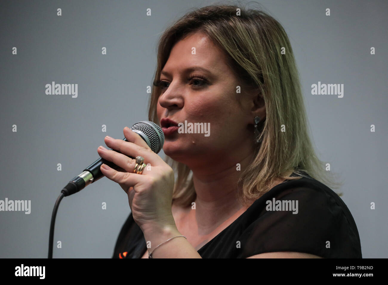 BELÉM, PA - 17.05.2019: JOICE HALSSEMANN EM BELÉM - Joice Halssemann (PSL) was in Belém for the Caravan of Reform (pension) on Friday (17) and spoke with businessmen at FIPA (Industry Fair of the State of Pará) in 2019, Ms. Éder Mauro (PSD) accompanied the meeting. (Photo: Filipe Bispo/Fotoarena) - Stock Image