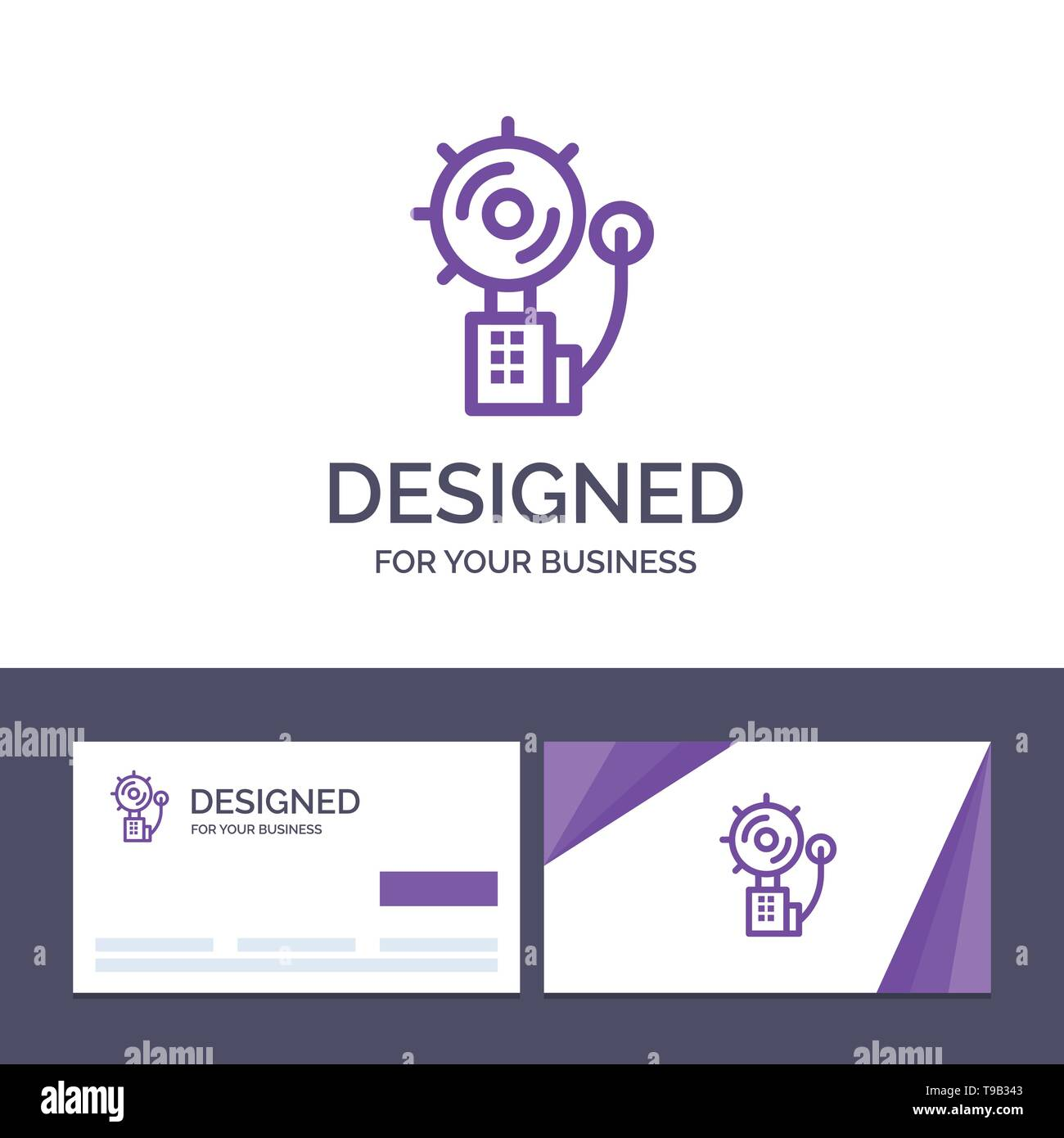 Creative Business Card and Logo template Alarm, Alert, Bell, Fire, Intruder Vector Illustration - Stock Image