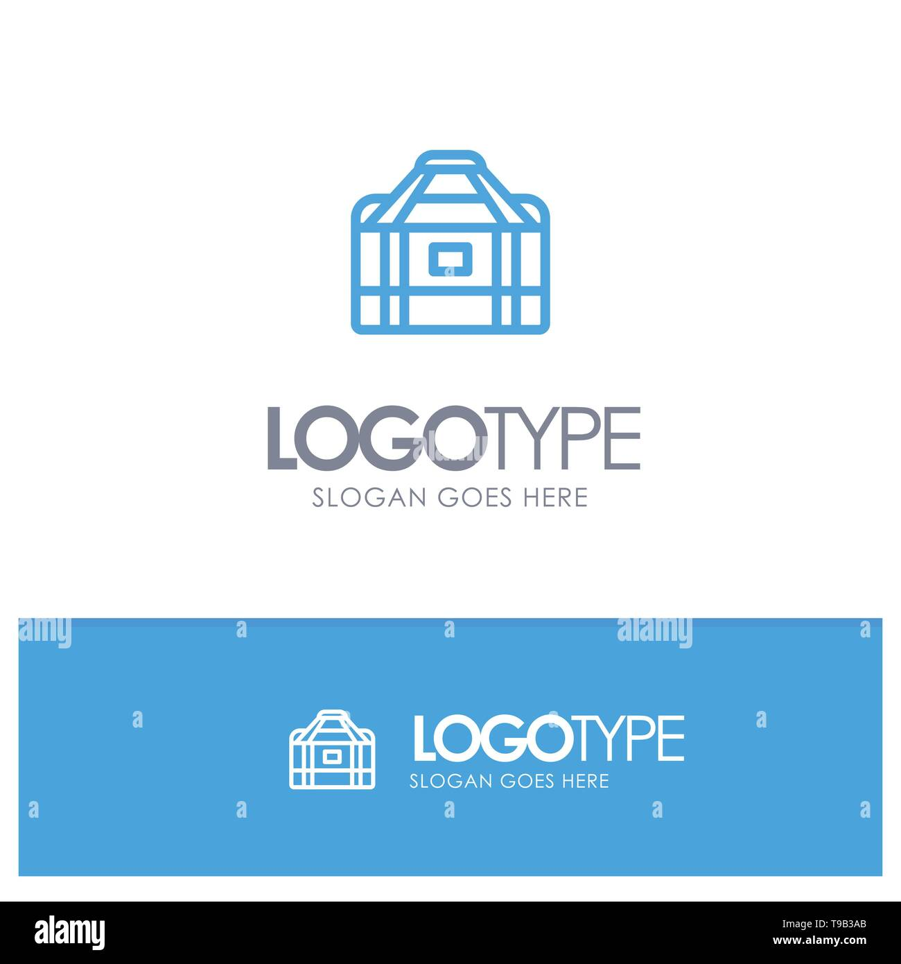 Bag, Equipment, Gym, Sports Blue outLine Logo with place for tagline - Stock Image