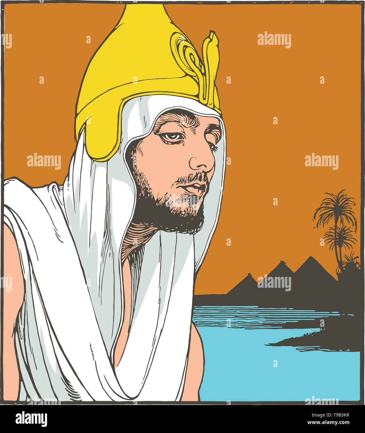 Young Moses near nile and pyramids. Line art illustration, vector - Stock Vector