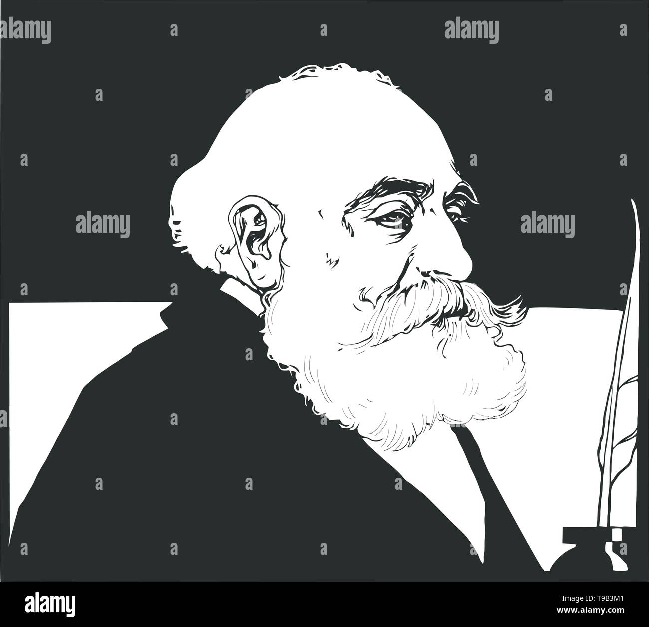 Max Simon Nordau, was a Zionist leader, physician, author, and social critic. - Stock Vector
