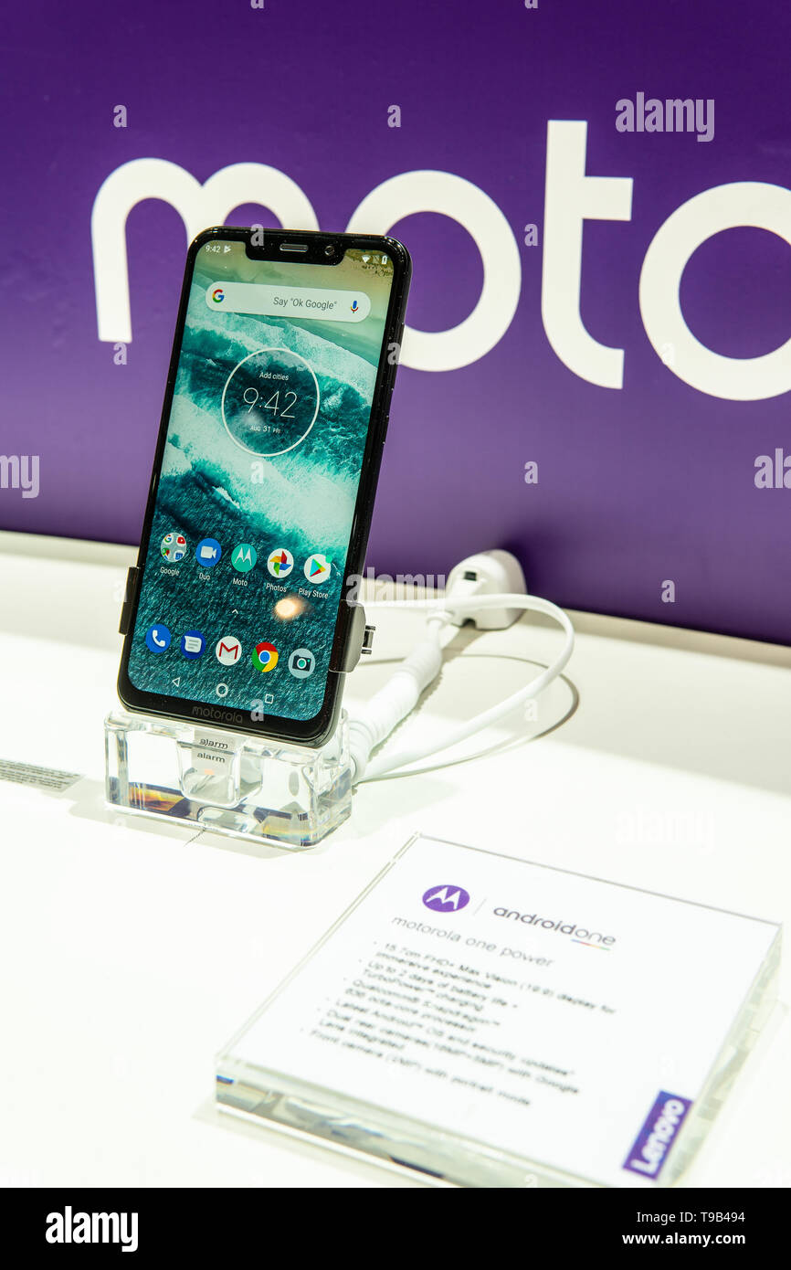 Berlin, Germany, August 31, 2018, Motorola One smartphone with notch, Android, Motorola exhibition at Global Innovations Show IFA 2018 - Stock Image